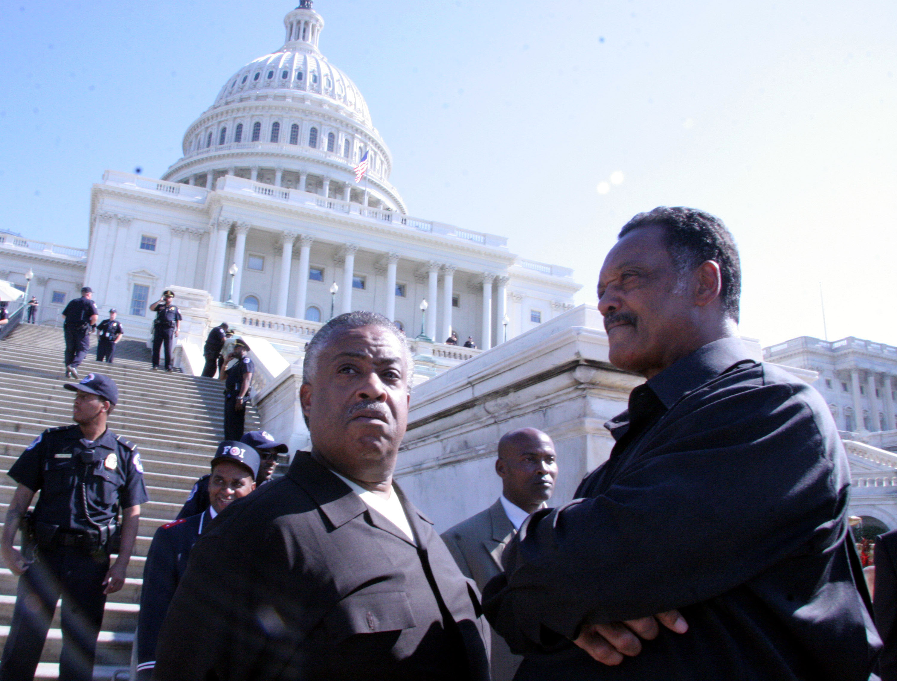 Rev. Al Sharpton and Rev. Jesse Jackson during the Millions More Movement Launch in Washington on Oct. 15, 2005.