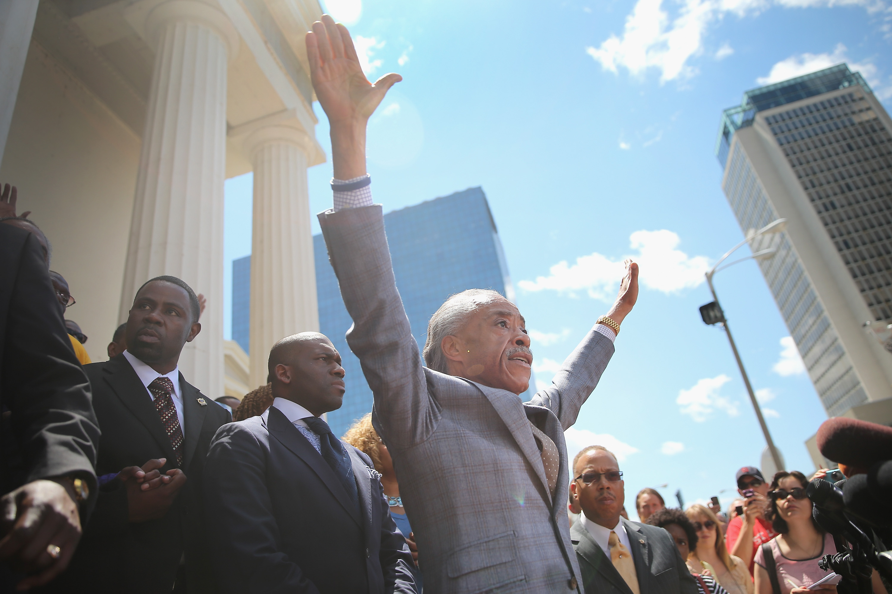 Civil rights leader Rev. Al Sharpton speaks about the killing of teenager Michael Brown at a press conference held on the steps of the old courthouse in St. Louis on Aug. 12, 2014.