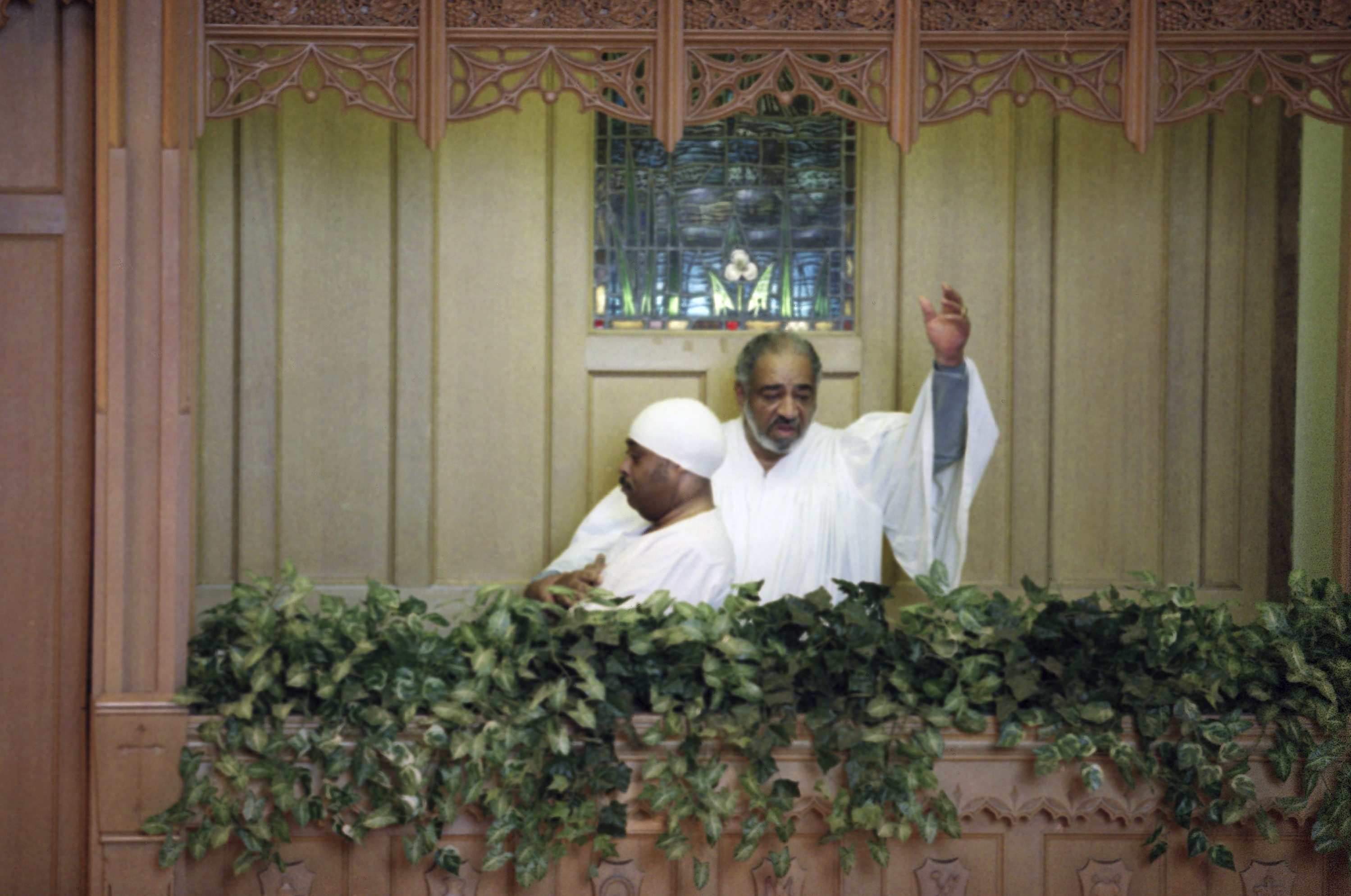 The Rev. William A. Jones, right, of the Bethany Baptist Church in Brooklyn re-baptizes the Rev. Al Sharpton in New York City on Feb. 6, 1994.