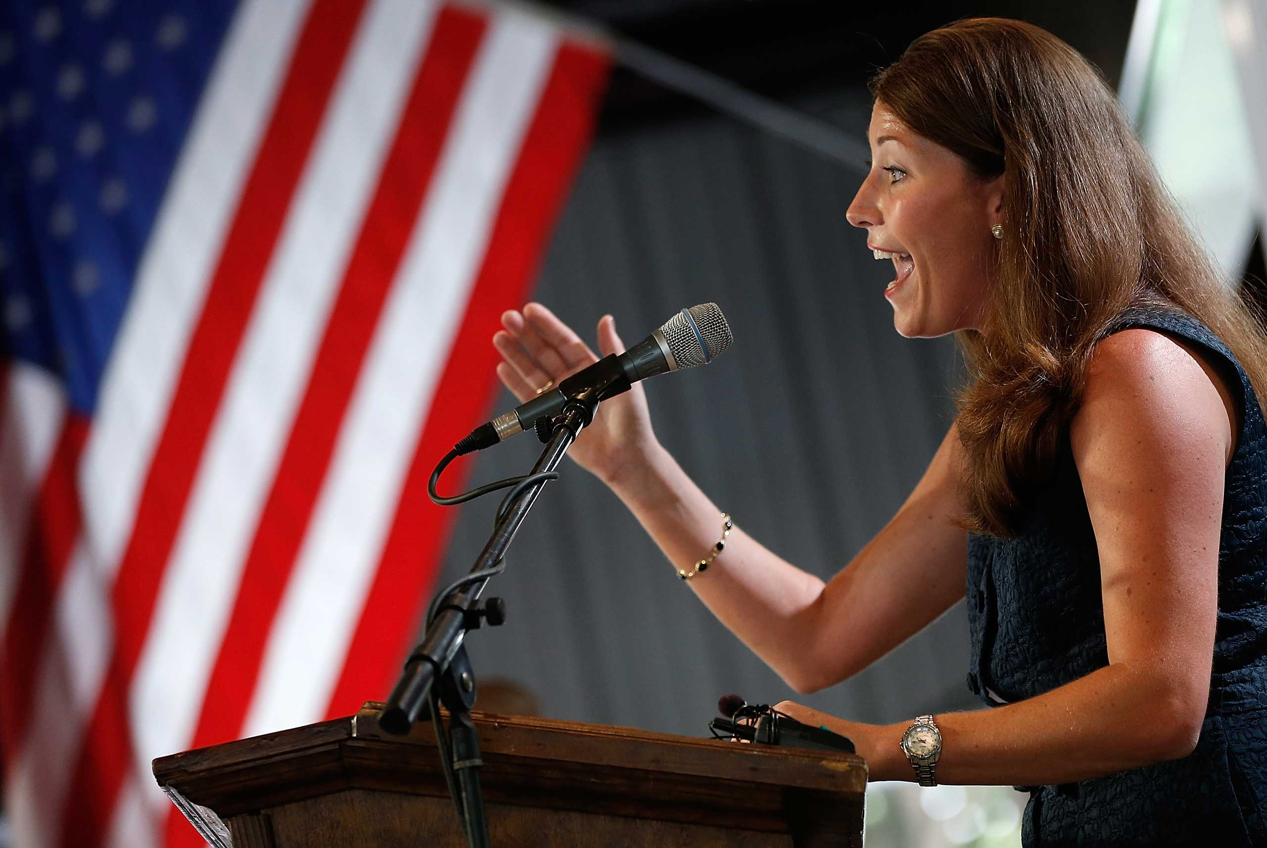 Kentucky's Democratic U.S. Senate nominee, and Kentucky Secretary of State, Alison Lundergan Grimes speaks at the Fancy Farm picnic in Fancy Farm, Ky. on Aug.  2, 2014.