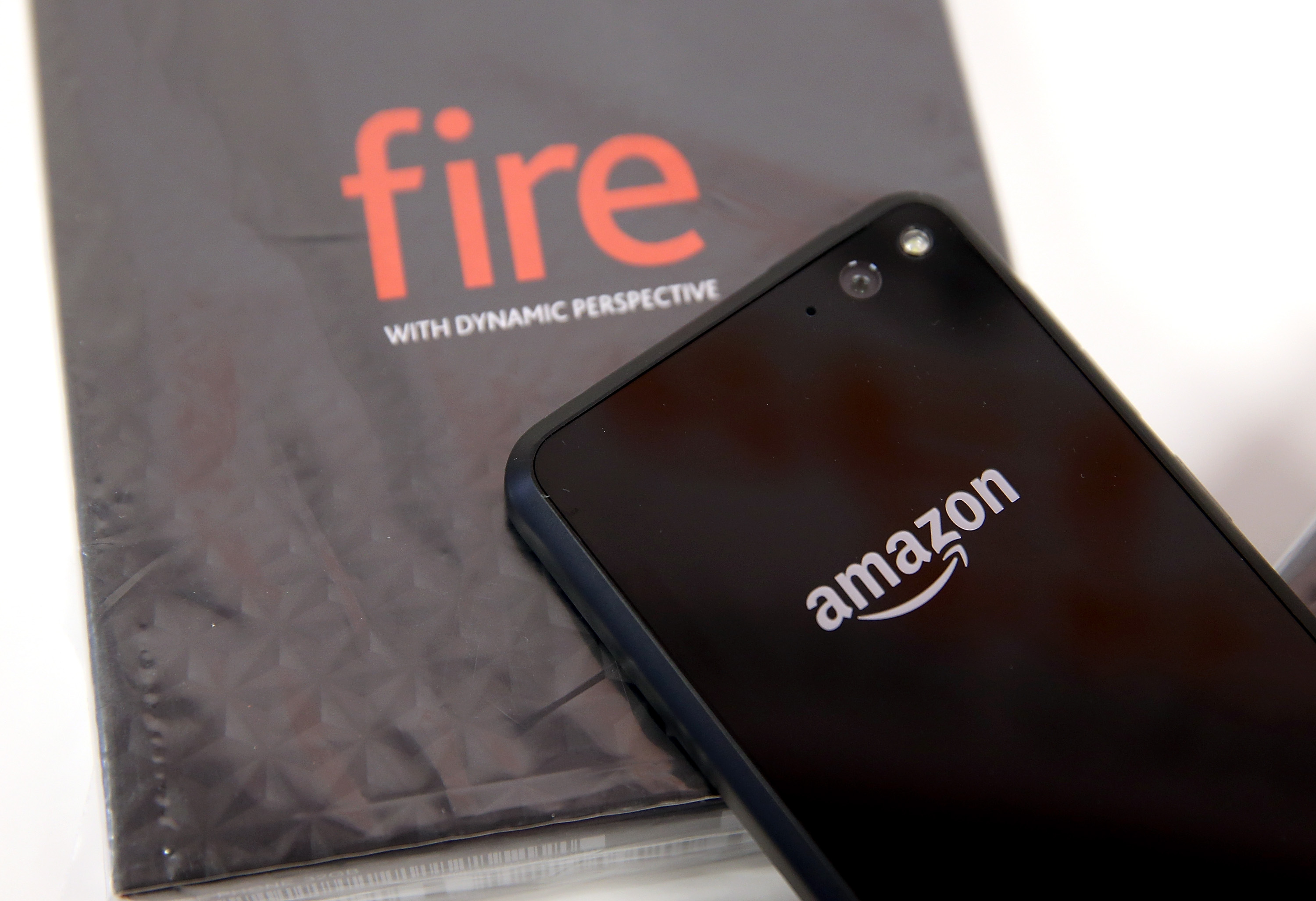 The Amazon Fire phone is displayed at an AT&T store on July 25, 2014 in San Francisco, California.