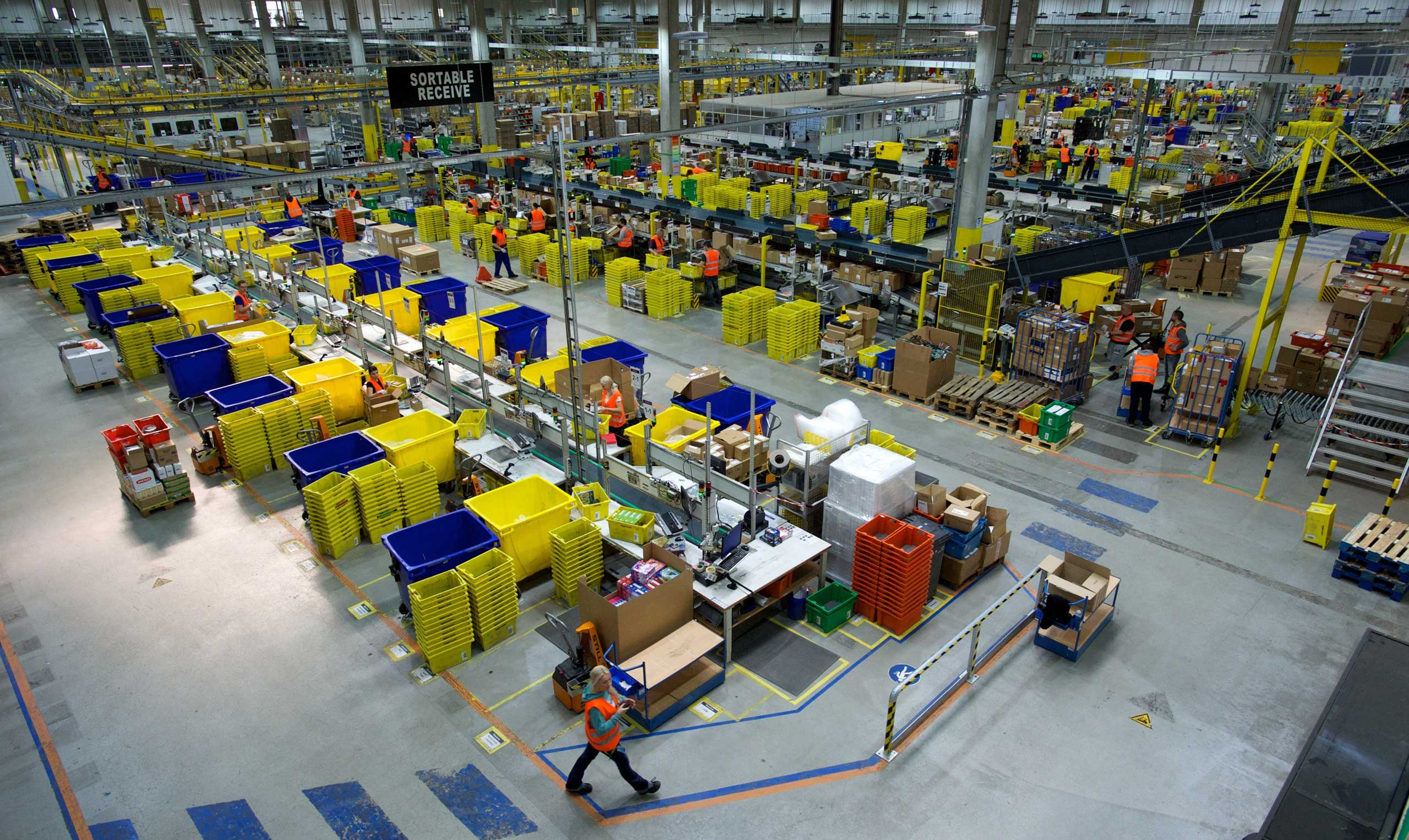 Interior view of the hall of a logistics center of the online shopping company Amazon, taken on March 26, 2014 in Leipzig, eastern Germany.