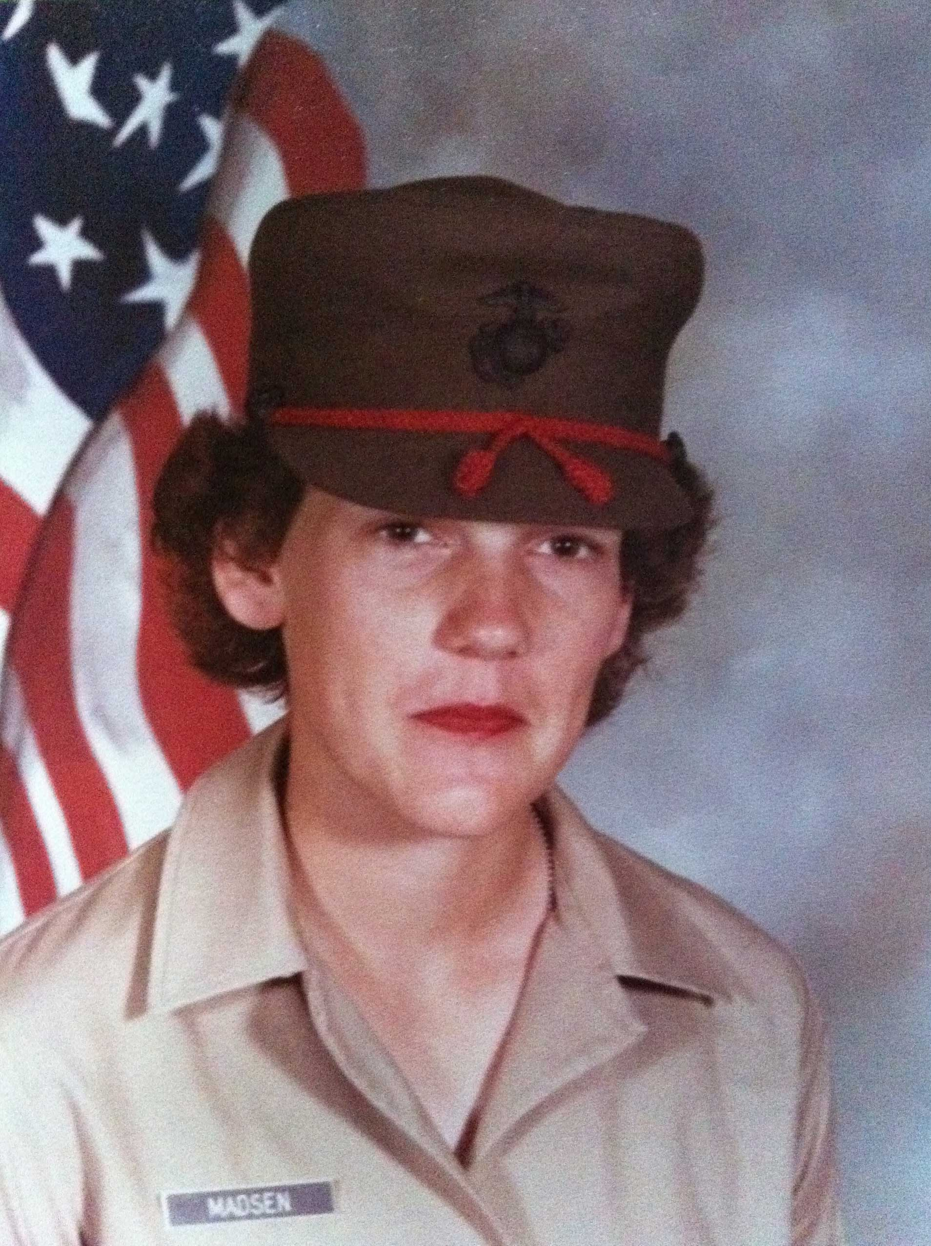 Angela Madsen's platoon yearbook photo, which was taken at Marine Corps Recruit Depot Parris Island in South Carolina, 1979.