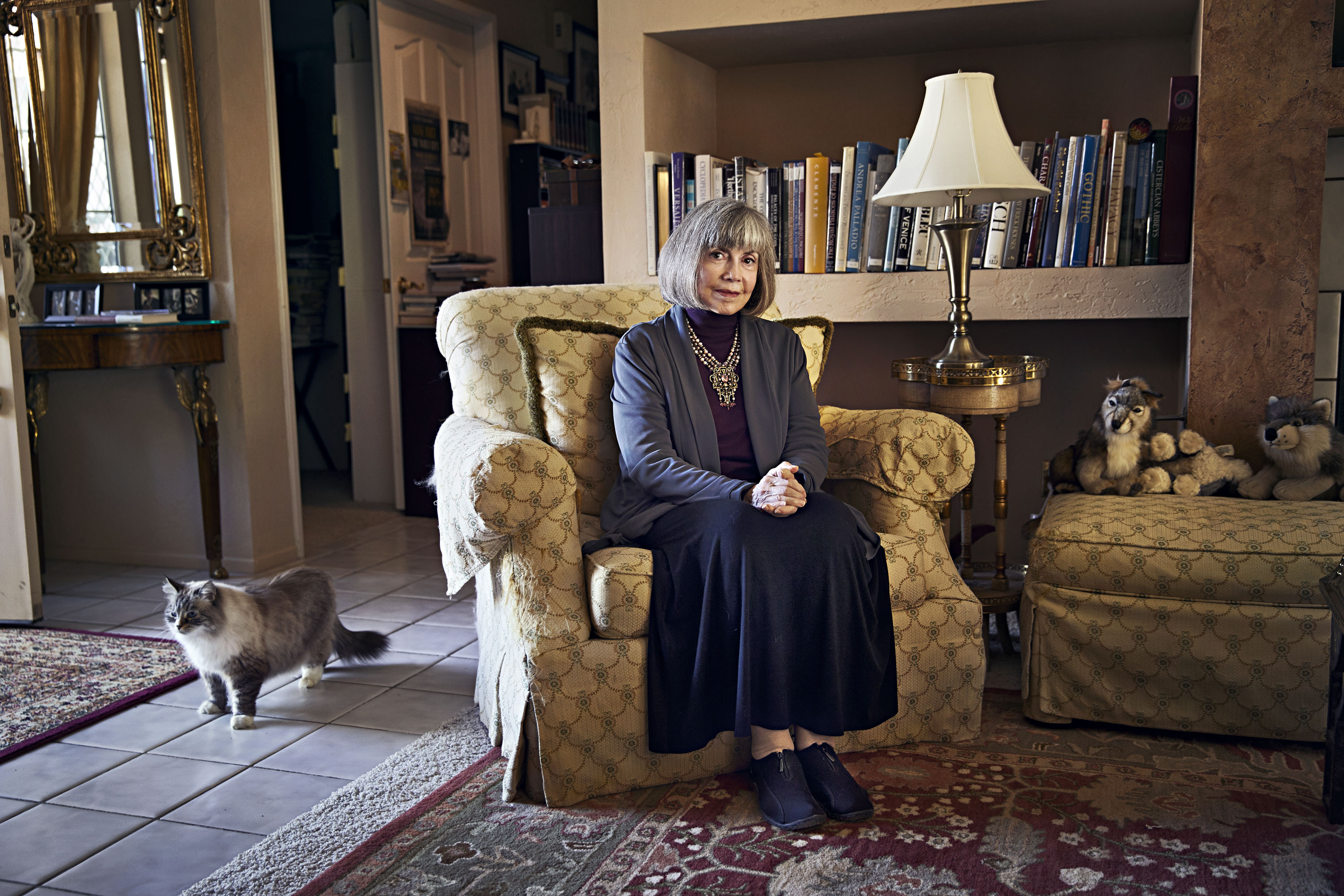 Author Anne Rice photographed at her home in Palm Desert, CA on October 16th, 2014.