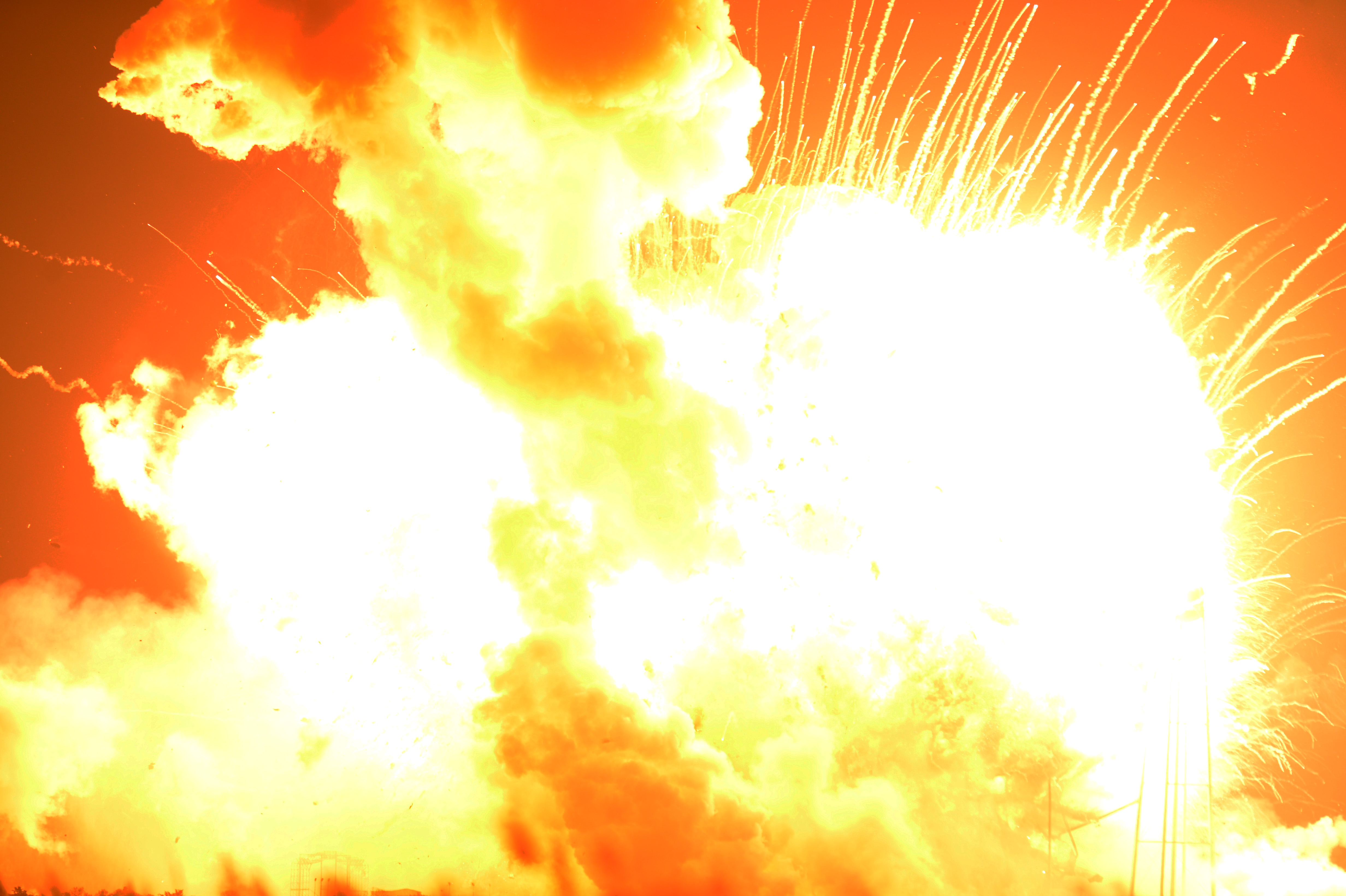 An unmanned Orbital Sciences Corp.'s Antares rocket explodes shortly after takeoff at Wallops Flight Facility on Wallops Island, Va. on Oct. 28, 2014.