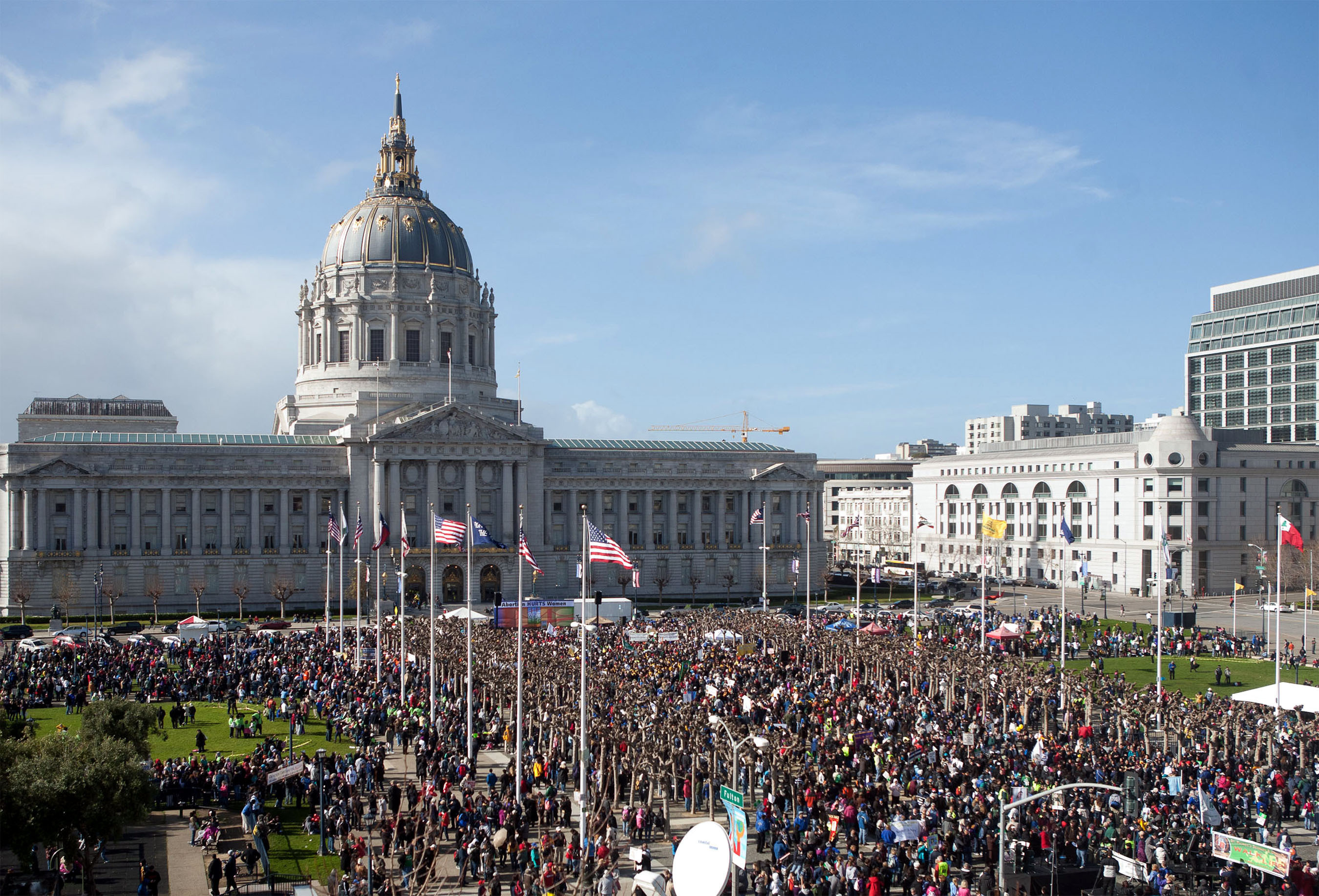 San Francisco's Civic Center Plaza, a site of many local gatherings and rallies, is among the locations in the city that have free Wi-Fi as of Wednesday, Oct. 1.