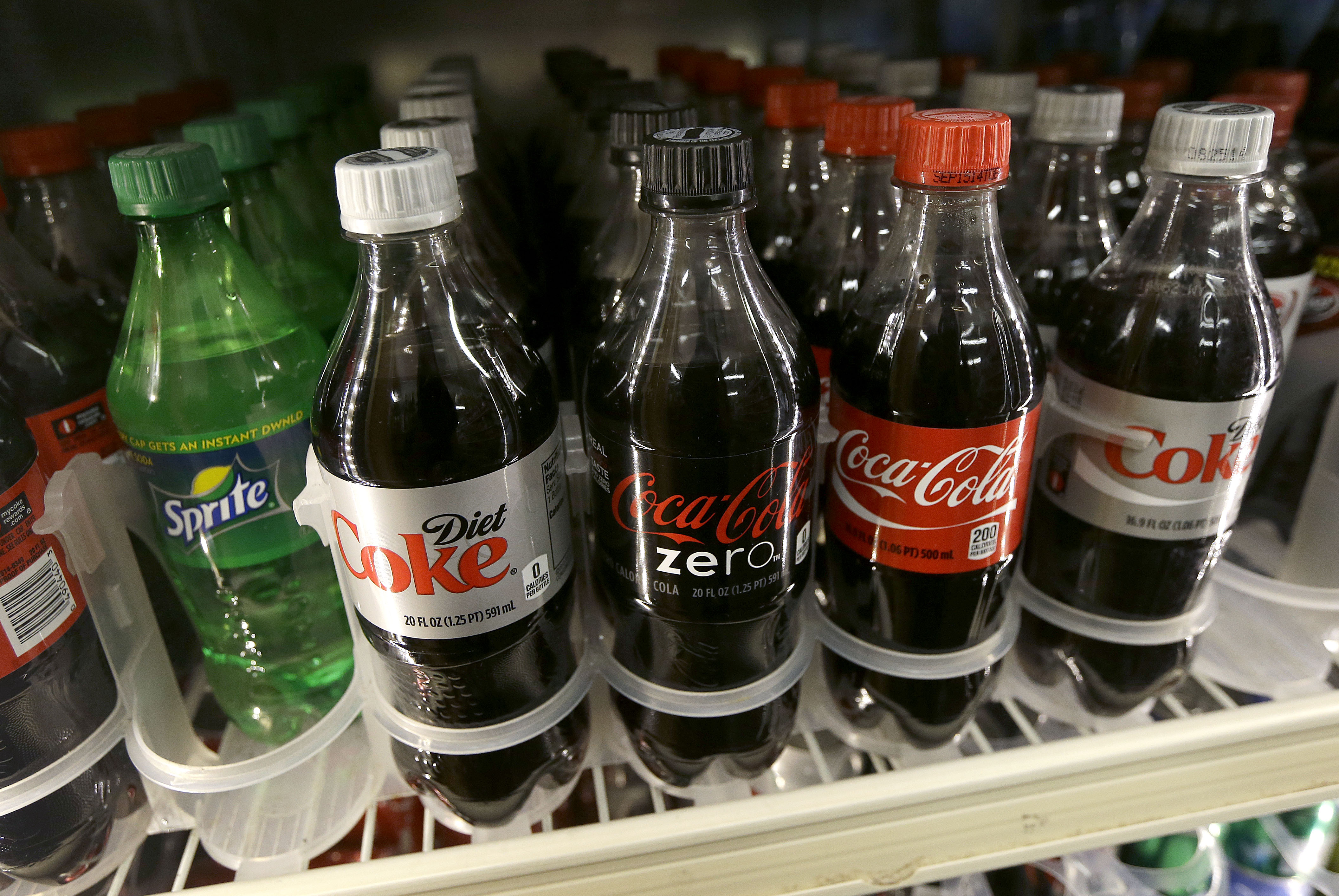 A shelf of soft drinks are shown in a refrigerator at K & D Market in San Francisco, on Oct. 1, 2014.