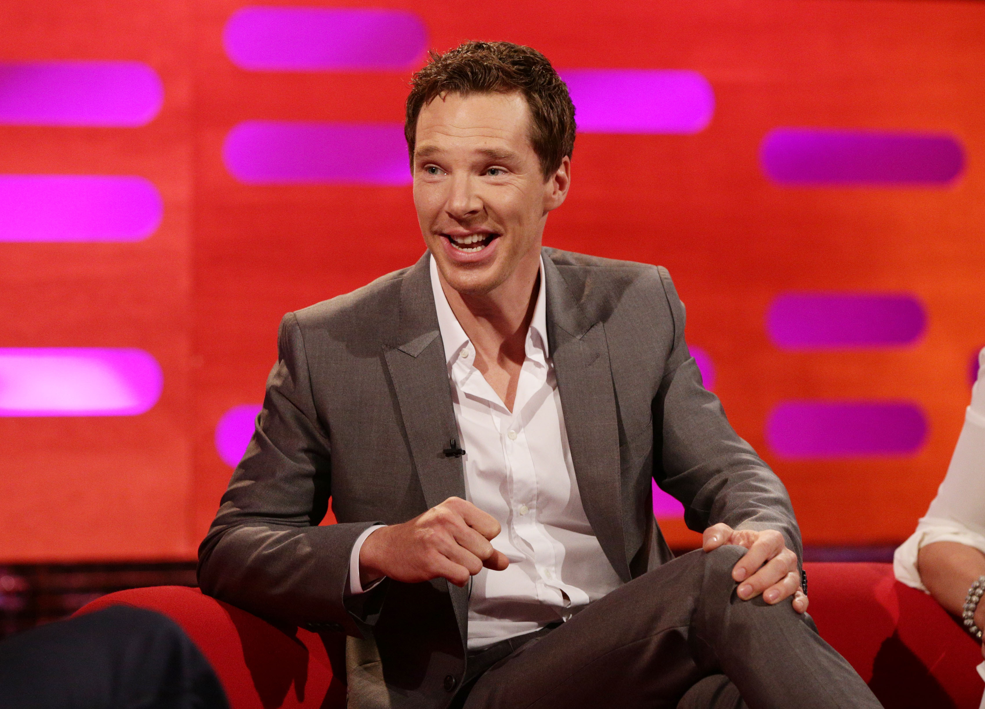 Graham Norton Show - London. Benedict Cumberbatch during filming of the Graham Norton Show at the London Studios, London, to be aired on BBC One on Friday evening. Picture date: Thursday October 23, 2014. Photo credit should read: Yui Mok/PA Wire URN:21270396