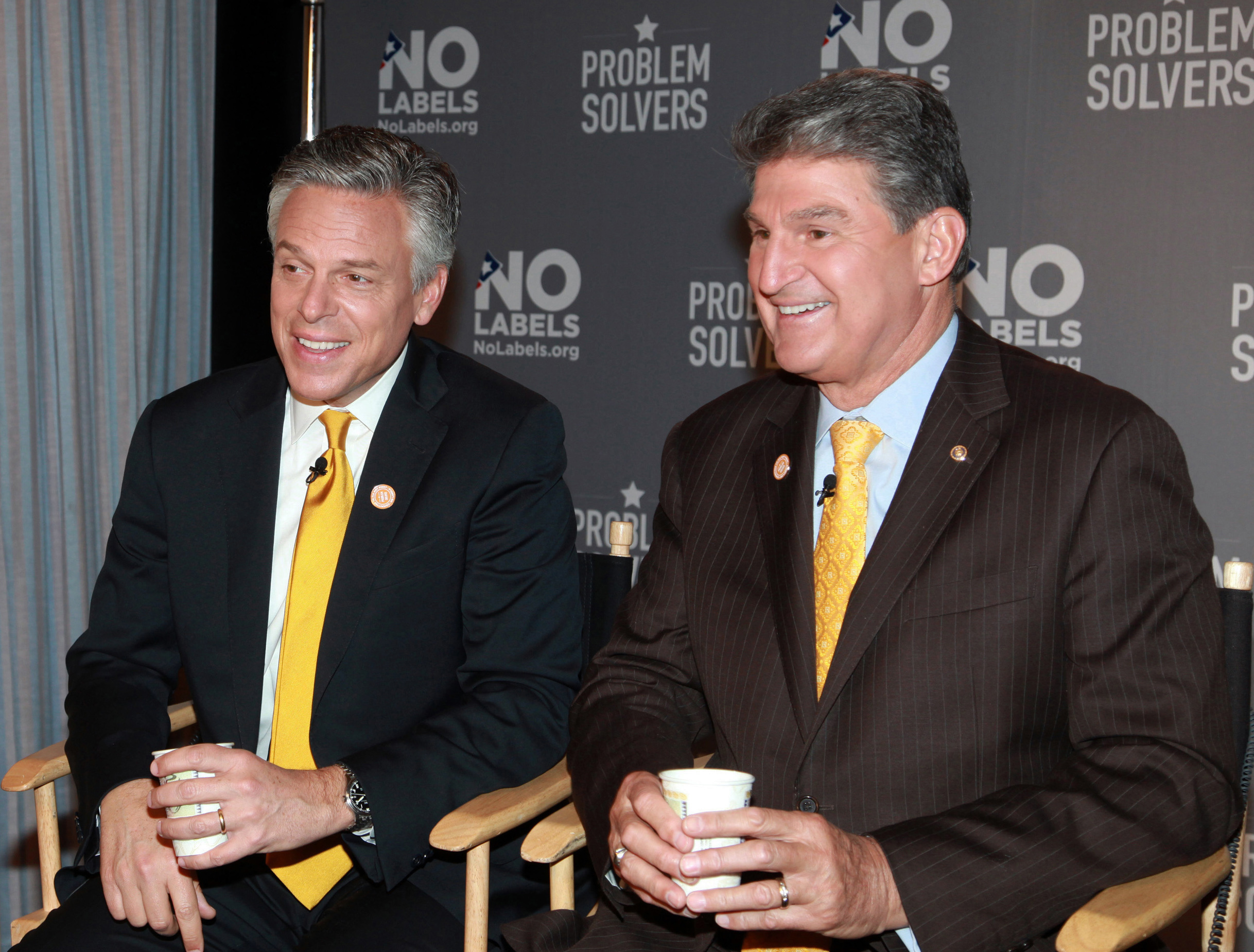 In this photo provided by No Labels, Former Ambassador to China and former Utah Gov. Jon Huntsman, left, and Sen. Joe Manchin, (D-W.Va.), address reporters after the pair became the new leaders of No Labels in New York, Monday, Jan. 14, 2013.