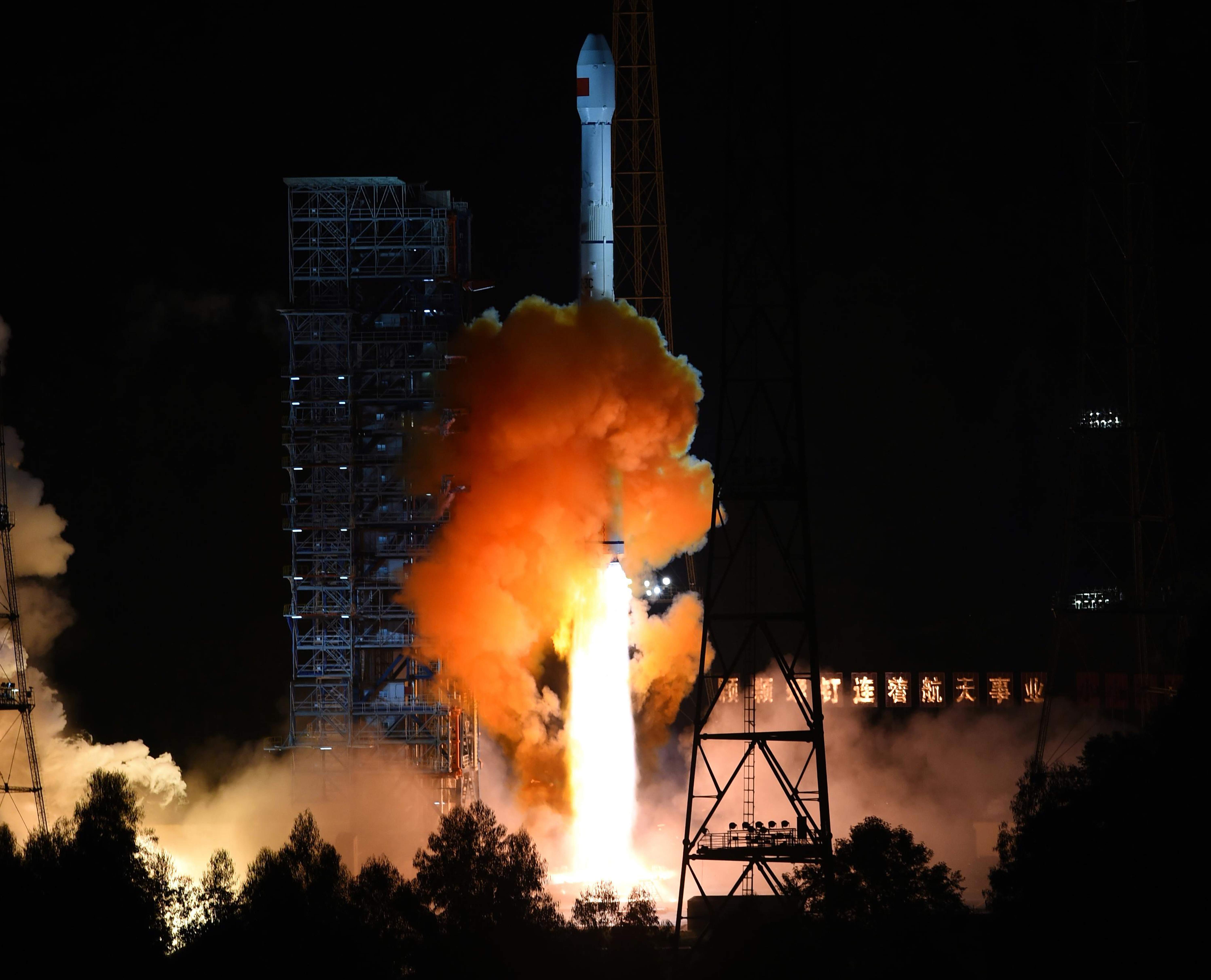 An unmanned spacecraft is launched from the Xichang Satellite Launch Center in southwest China's Sichuan Province on Oct. 24, 2014