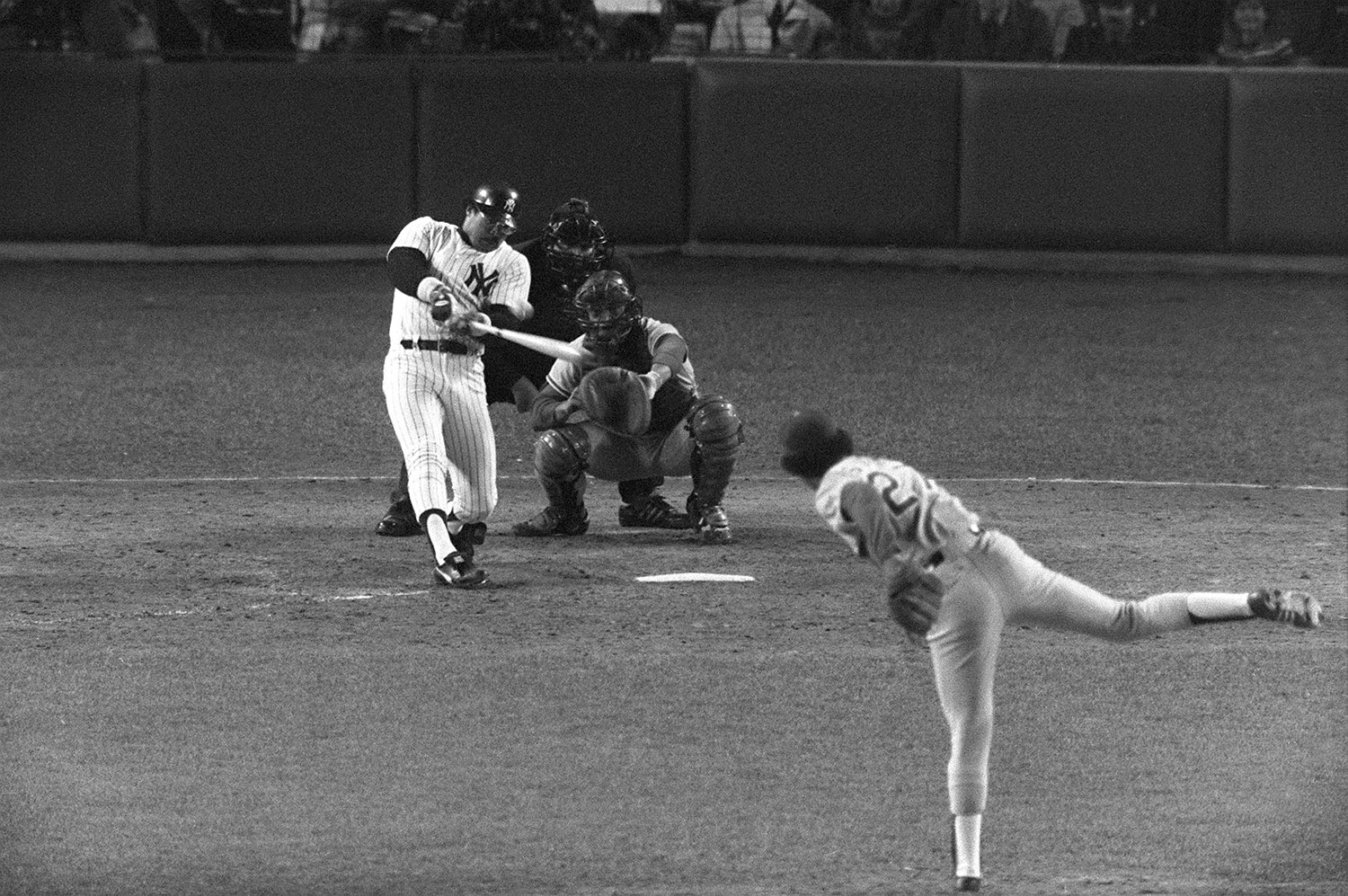 Oct. 18, 1977:                                    Reggie Jackson went 3 for 4 in Game 6 against the Los Angeles Dodgers,  hitting three home runs in three at-bats, and leading the Yankees to their first World Series in 15 years, earning himself the name Mr. October for his clutch efforts.