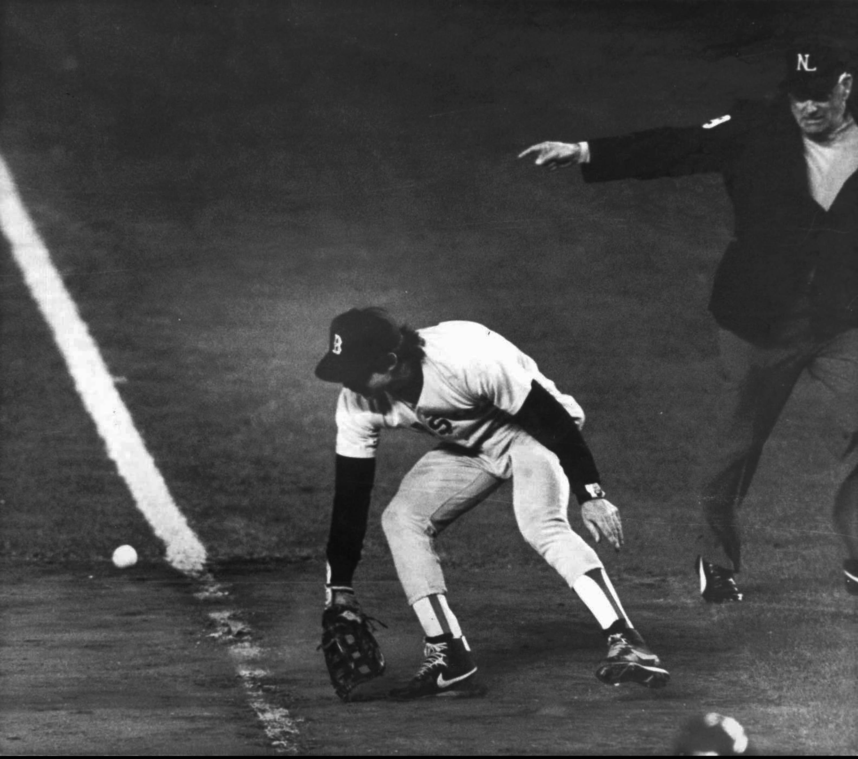 Oct. 25, 1986: Mookie Wilson of the New York Mets, at bat against  the Red Sox, who are one out away from winning the World Series.  Wilson hits a ground ball towards first base, which leads Red Sox first baseman Bill Buckner to commit an error that lets the ball go through his glove, allowing the Met's Ray Knight to score the game-winning run.  The Mets would go on to win the World Series.