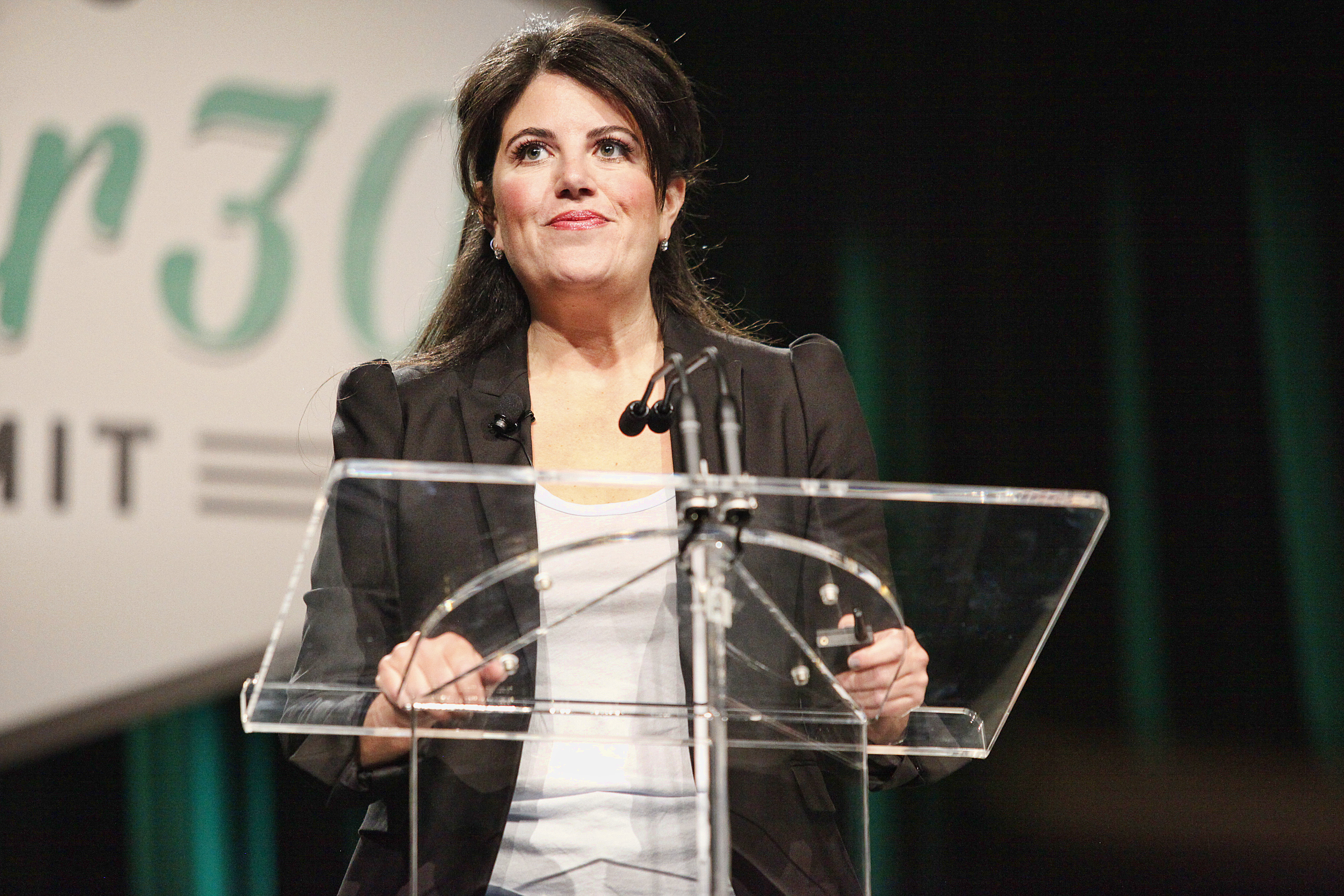 Monica Lewinsky speaks to attendees at Forbes Under 30 Summit at the Convention Center in Philadelphia, Pa on October 20, 2014.