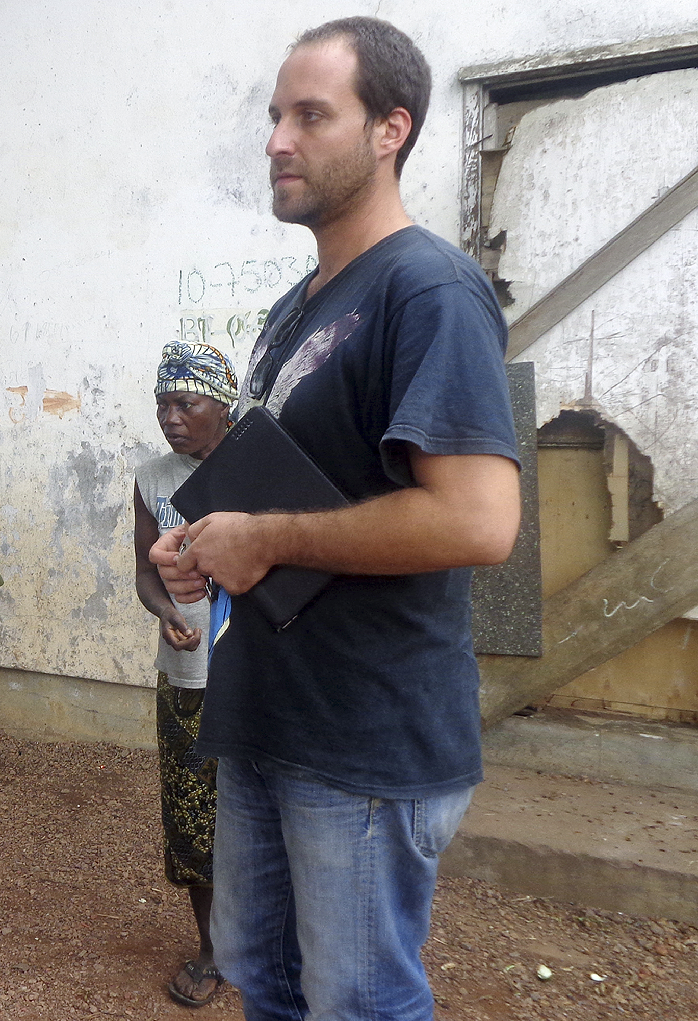 American video journalist Ashoka Mukpo at an iron ore mining camp in Bong County, Liberia in Aug. 2013