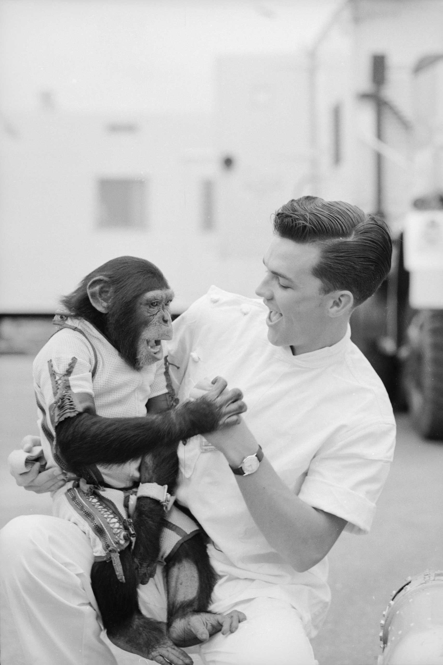 Ham the astrochimp and his handler, Cape Canaveral, Florida, 1961.
