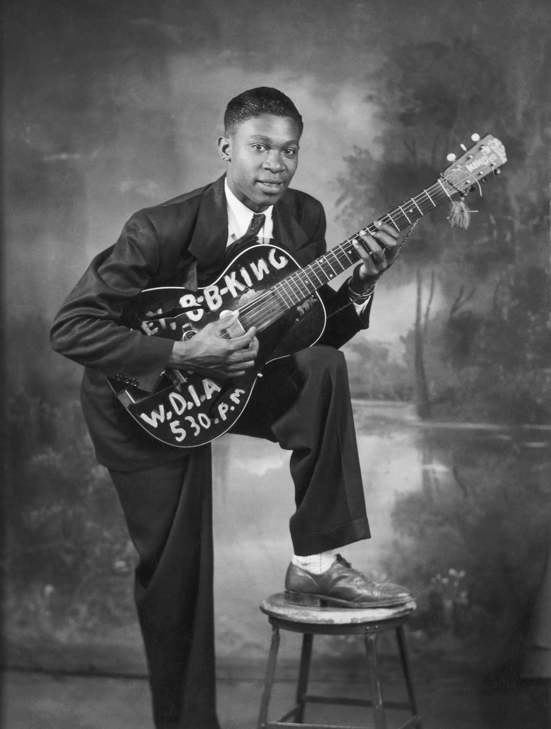 B.B. King a local DJ at WDIA Radio poses for a portrait circa 1948 in Memphis, Tenn.