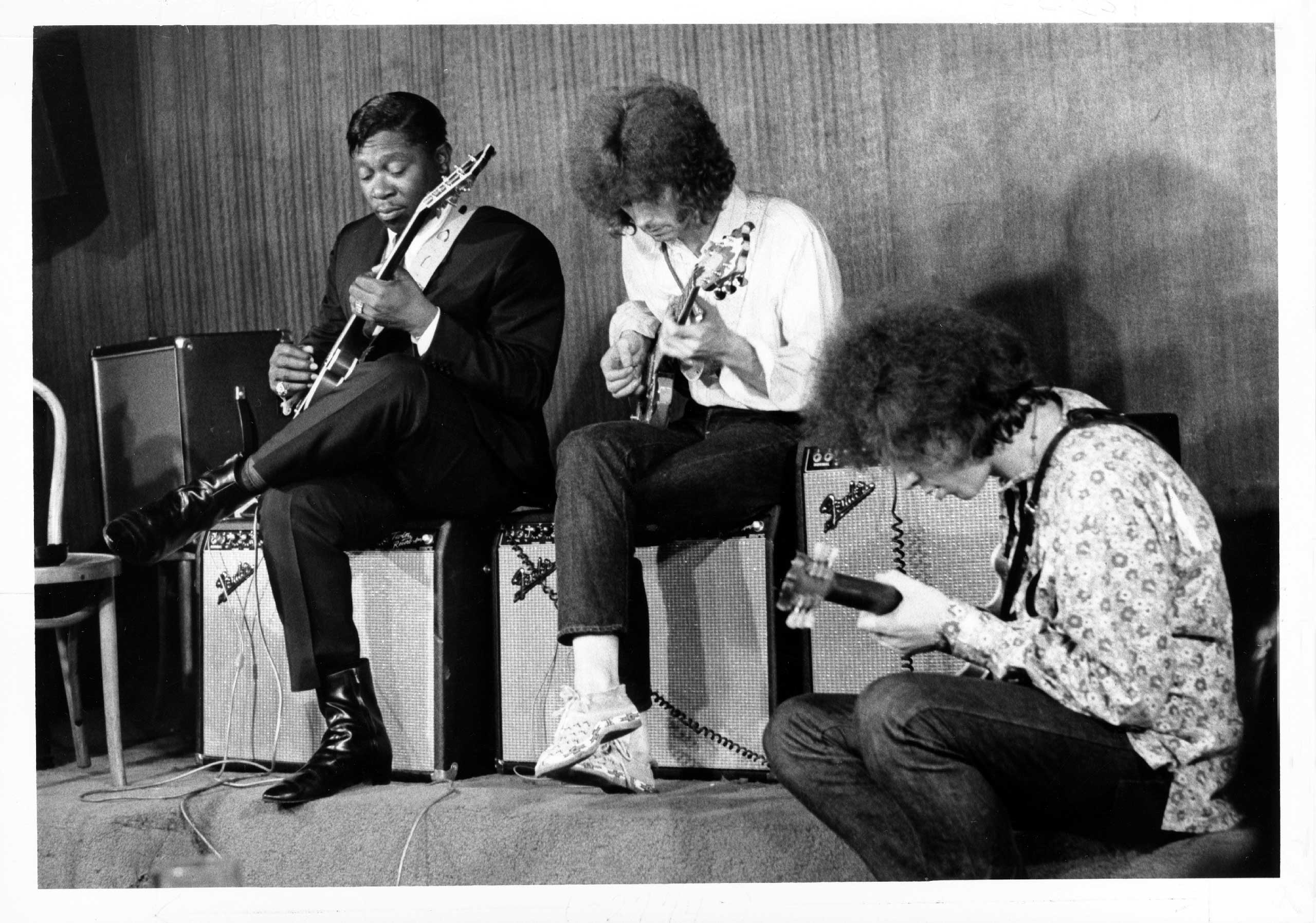 From Left: Musicians B.B. King, Eric Clapton and Elvin Bishop perform together in 1967 in New York City.