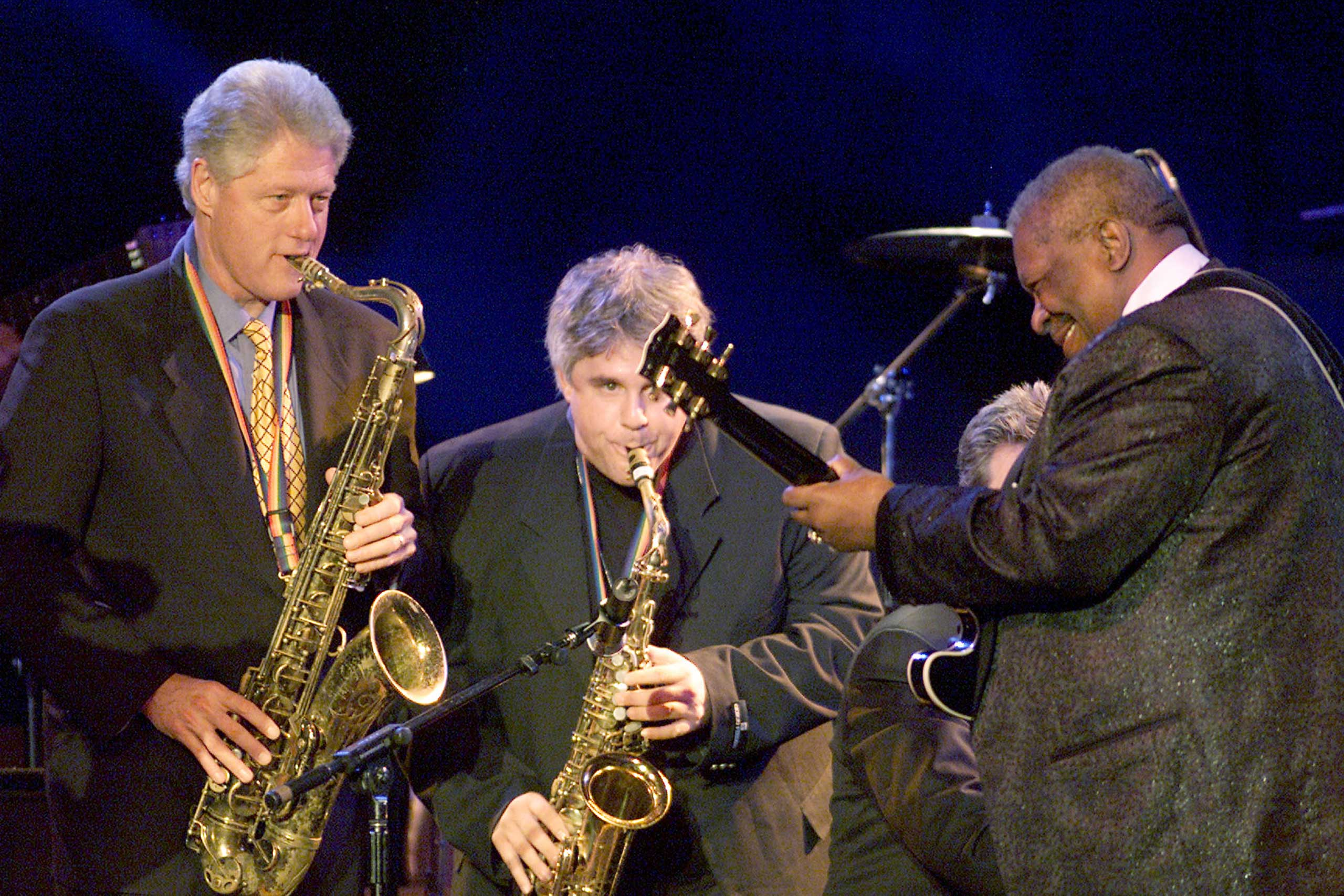 From Left: President Bill Clinton plays the sax with B.B. King at 'A Family Celebration 2001' at the Regent Beverly Wilshire Hotel in Beverly Hills, Calif. on April 1, 2001