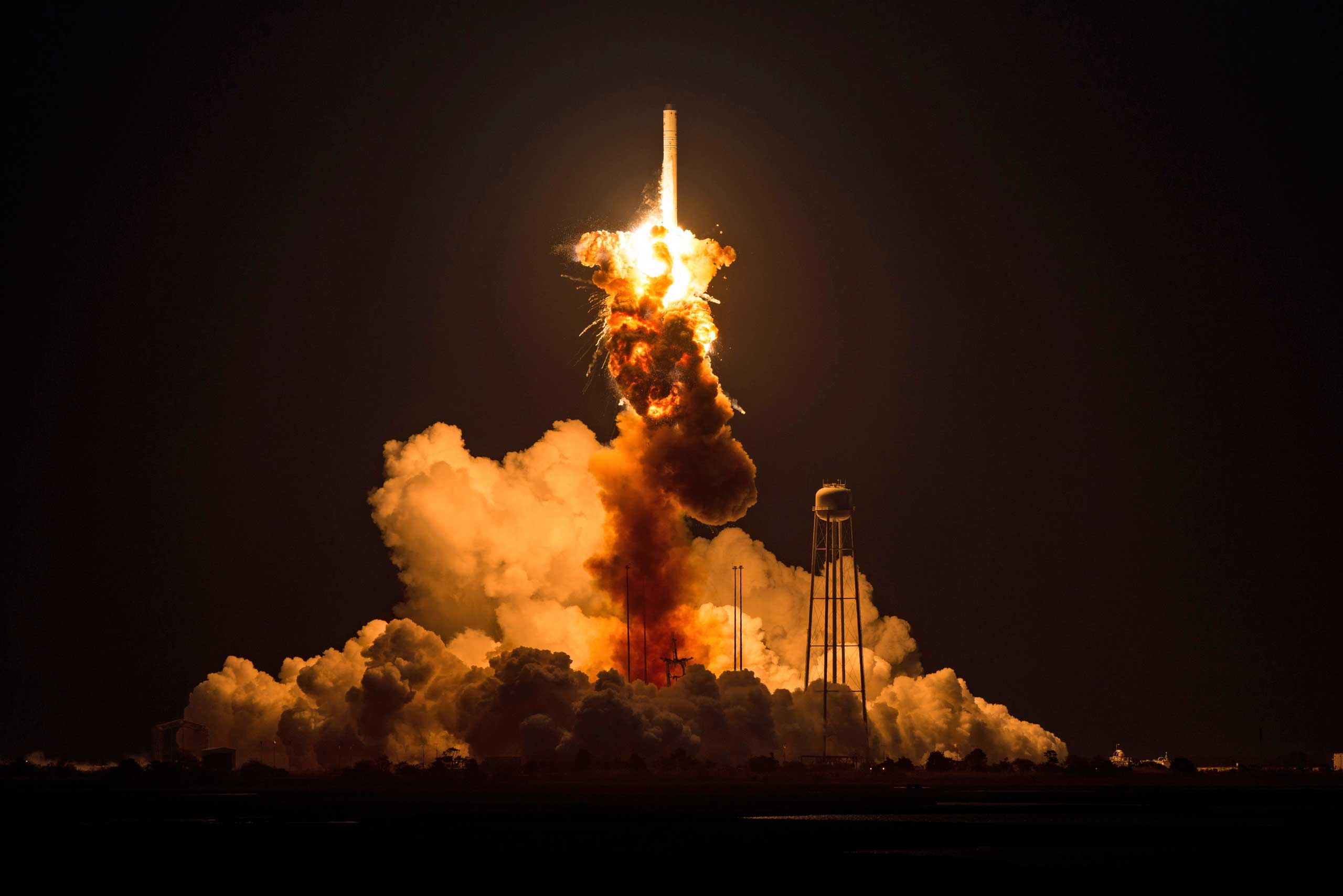 Oct. 28, 2014. This image provided by NASA shows the Orbital Sciences Corporation Antares rocket, with the Cygnus spacecraft onboard suffers a catastrophic anomaly moments after launch from the Mid-Atlantic Regional Spaceport Pad 0A, at NASA's Wallops Flight Facility in Virginia. The Cygnus spacecraft was filled with about 5,000 pounds of supplies slated for the International Space Station, including science experiments, experiment hardware, spare parts, and crew provisions.