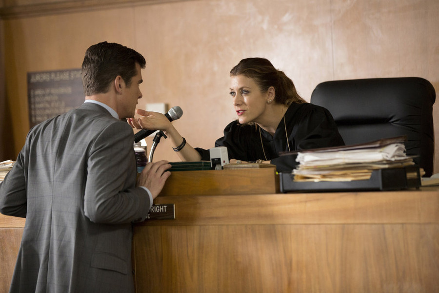 John Ducey as Tom and Kate Walsh as Rebecca -in NBC's Bad Judge.