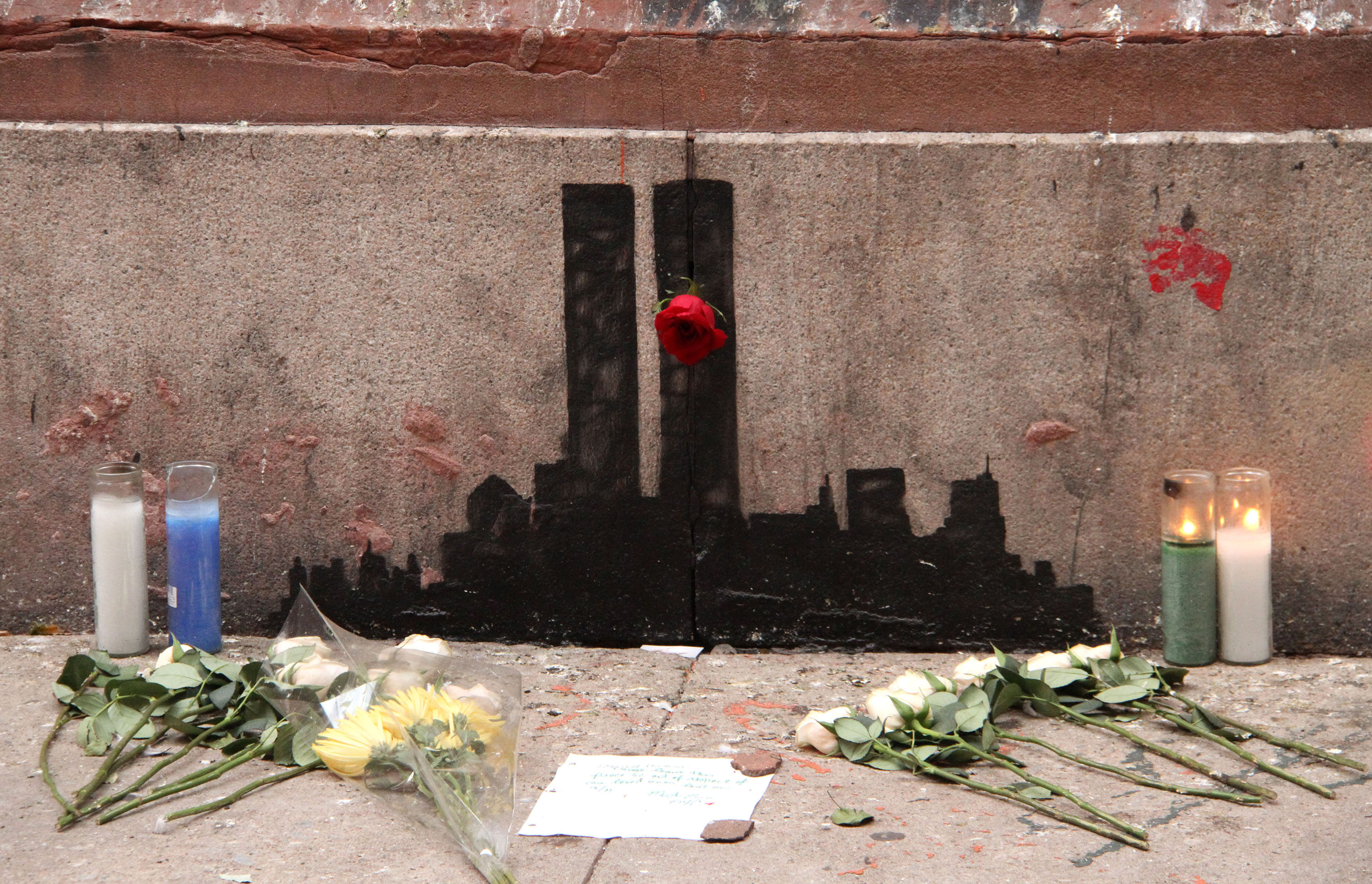 Banksy's 9/11 tribute featuring the Twin Towers located at Staple Street in TriBeCa, New York City, Oct. 16, 2013.