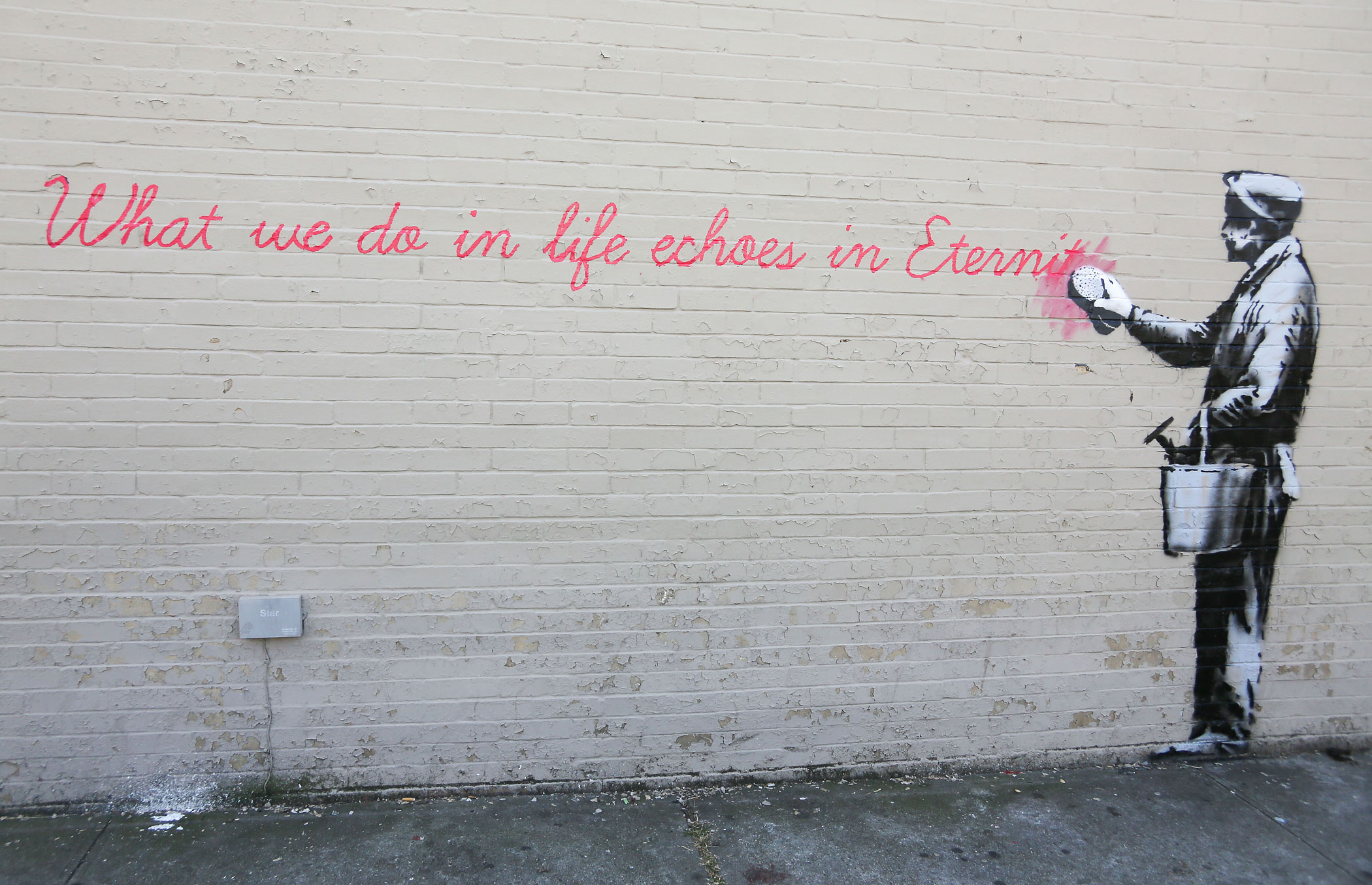 Banksy's 'What we do in life echoes in Eternity' seen in New York City on Oct. 14, 2013.