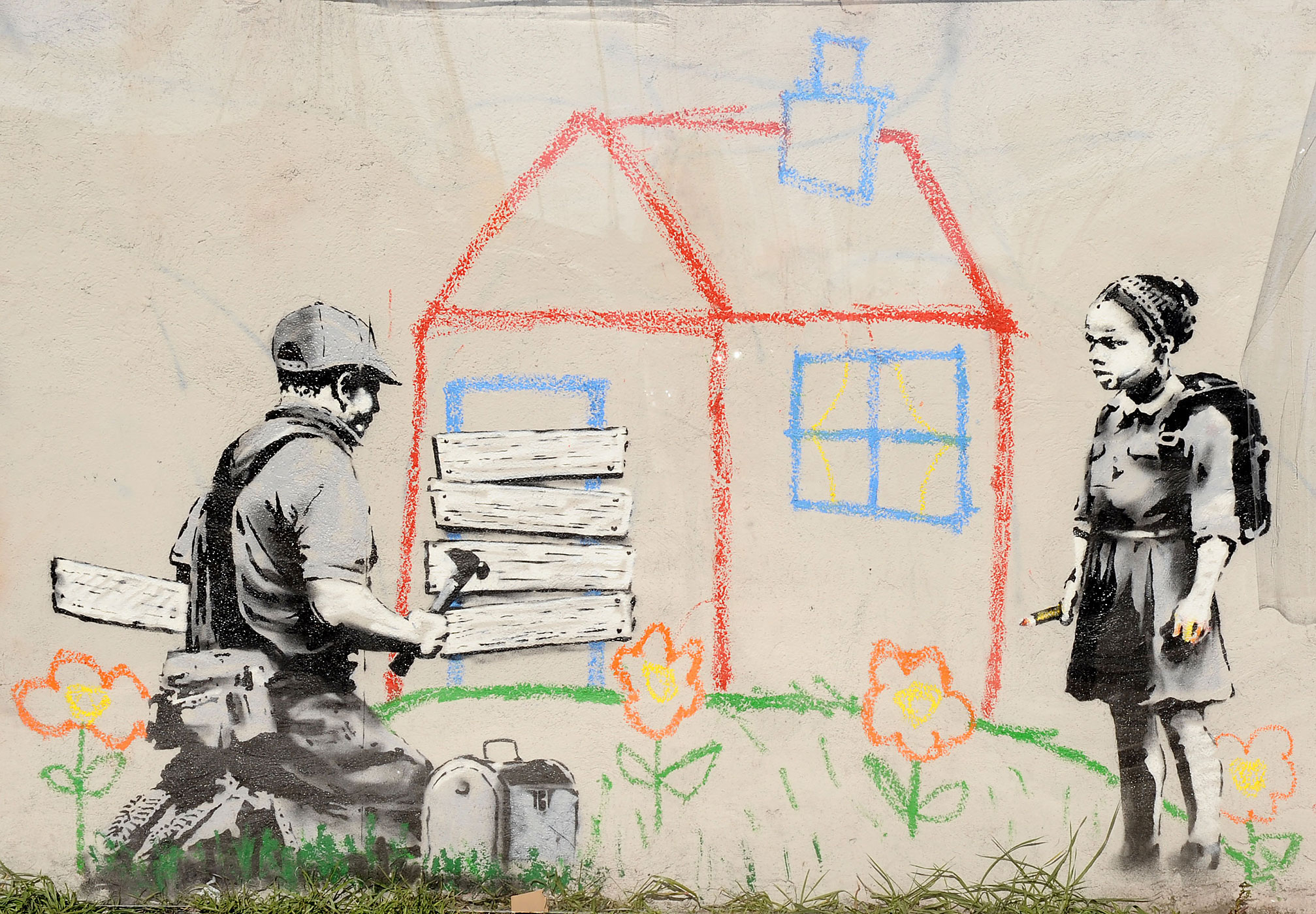 "Banksy's ""Crayon Foreclosure,"" seen in Los Angeles, Ca. on February 27, 2011."