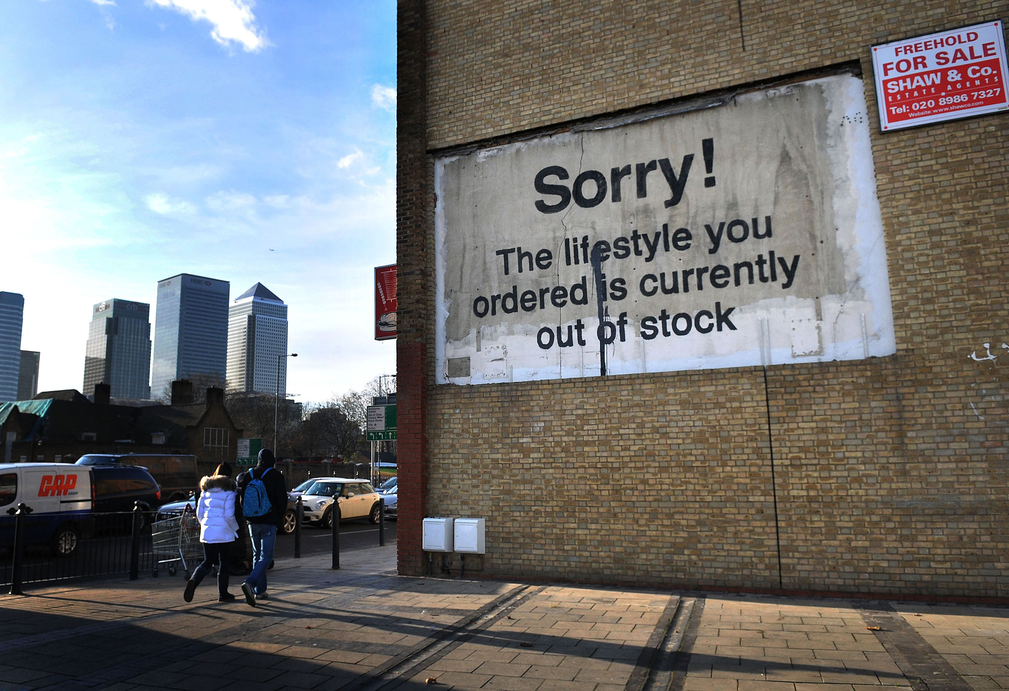 A Banksy is seen in East London, on December 20, 2011.