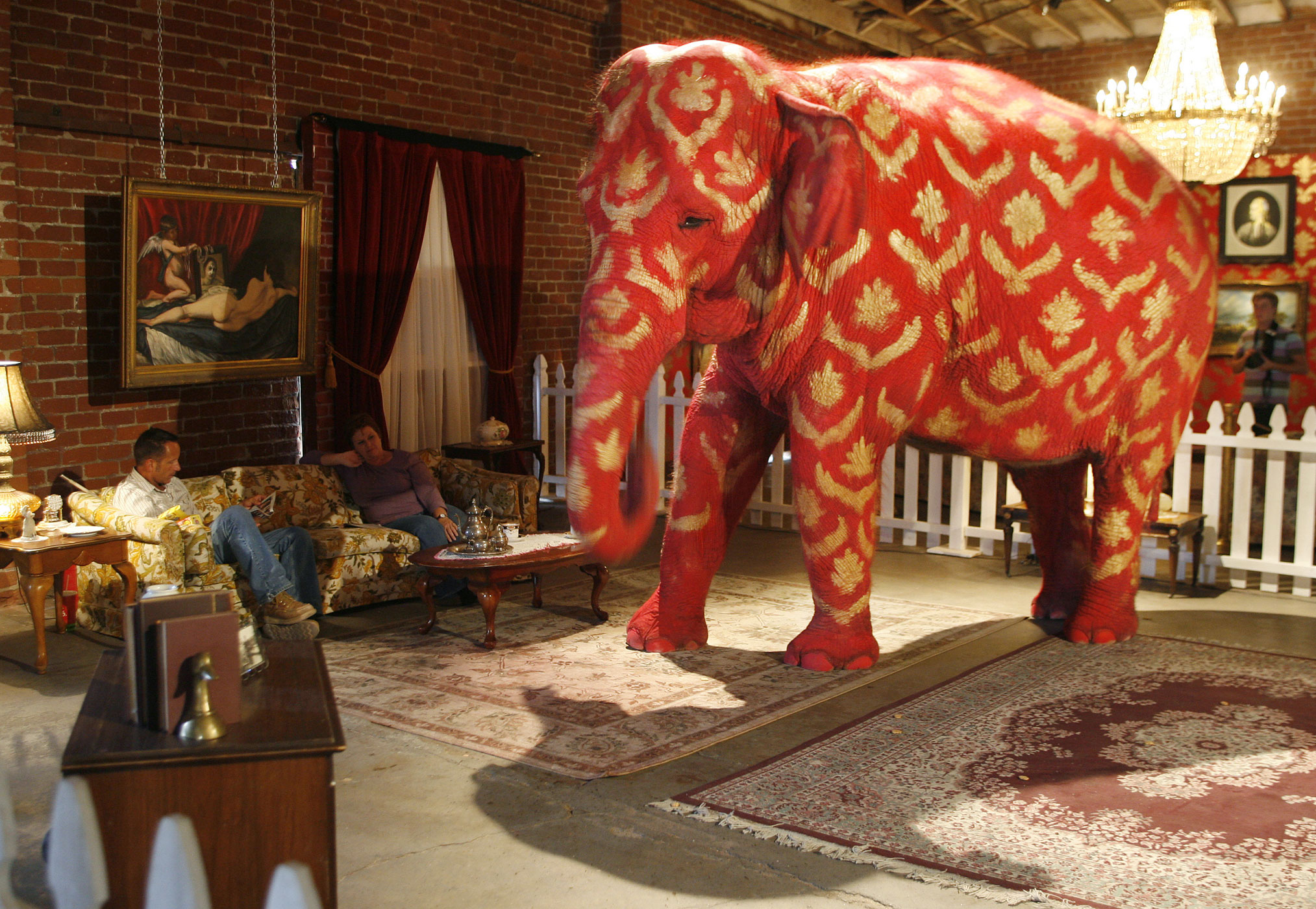 "Tai, a 38-year-old Asian elephant, painted by Banksy, is displayed at the ""Barely Legal"" exhibition at a warehouse near downtown Los Angeles on September 15, 2006."