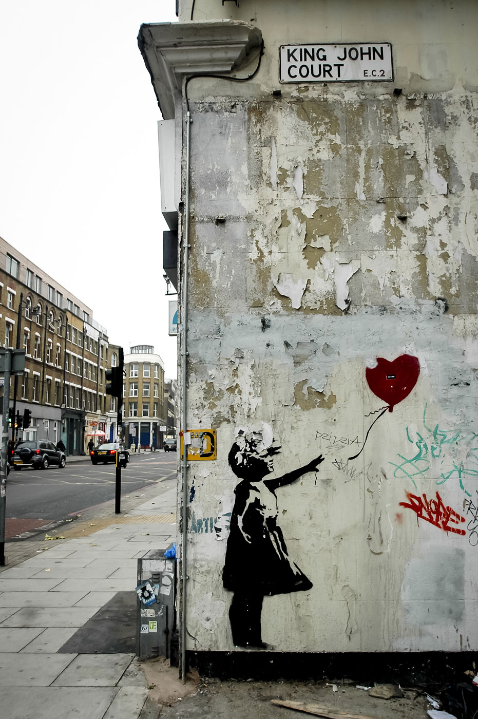 A Banksy is seen in London, England on Dec. 12, 2004.