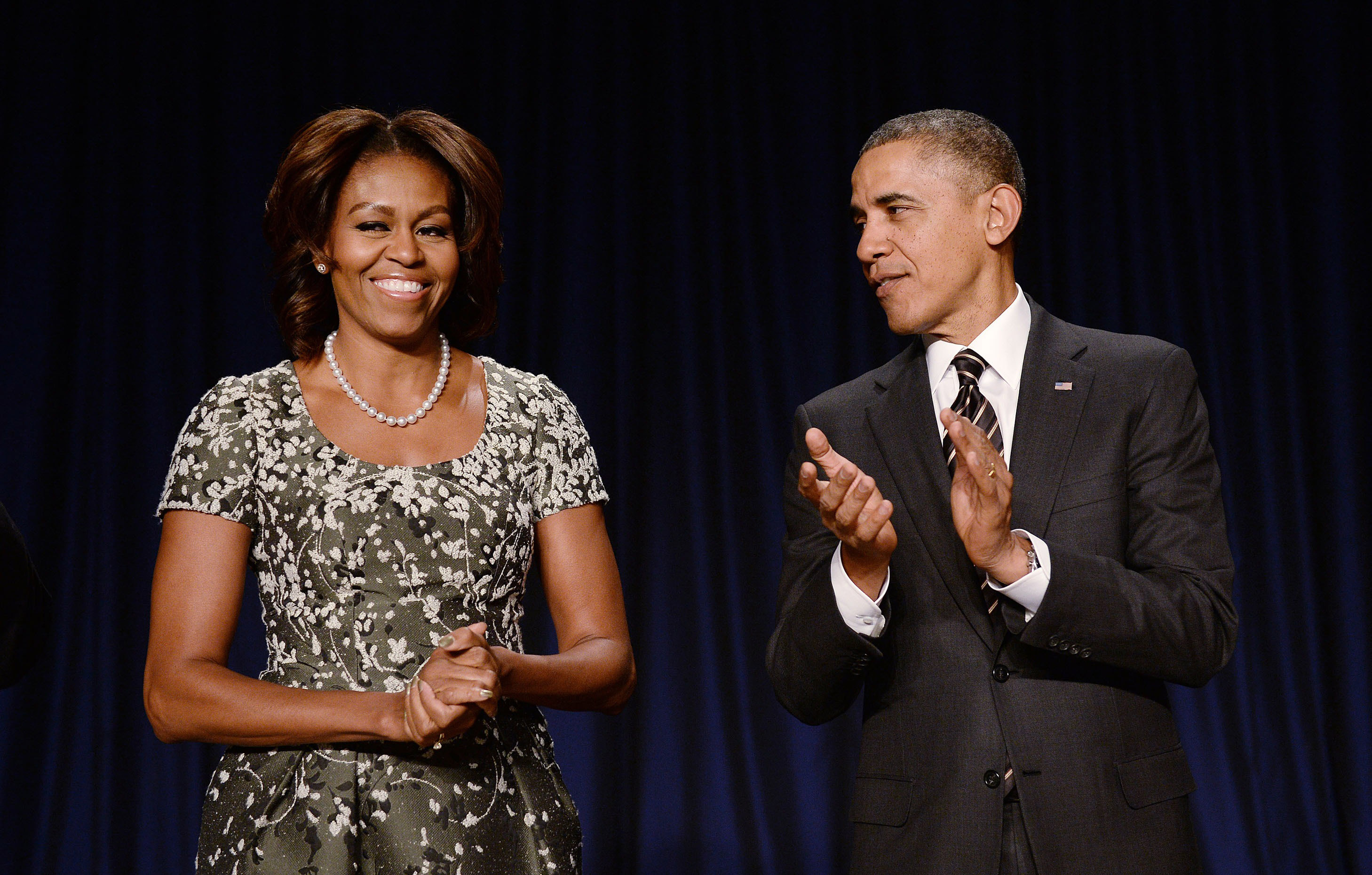 President Barack Obama and first lady Michelle Obama attend the National Prayer Breakfast at the Washington Hilton on Feb. 6, 2014 in Washington.