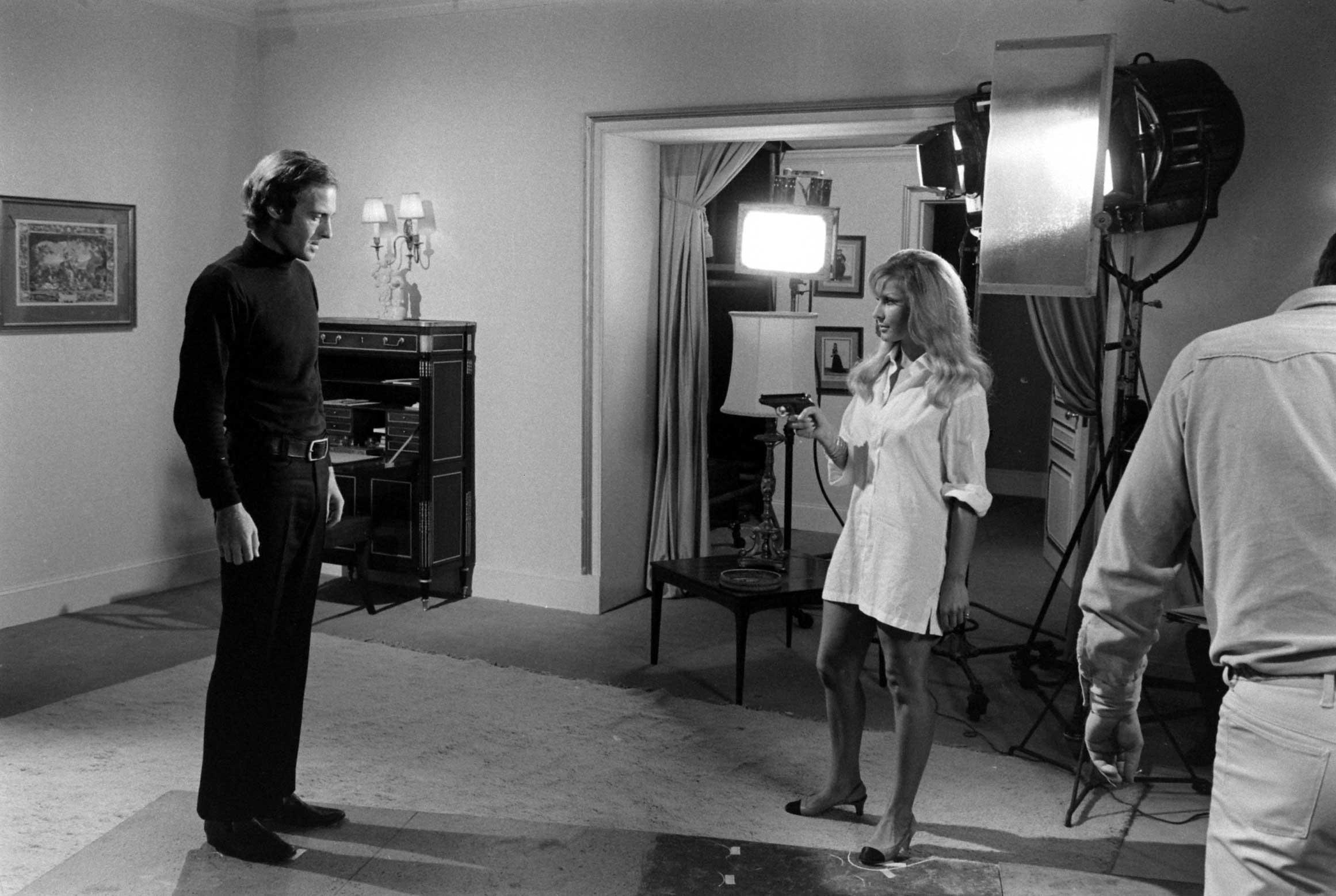 John Richardson reacts as his screen-test costar pulls out a gun, 1967.