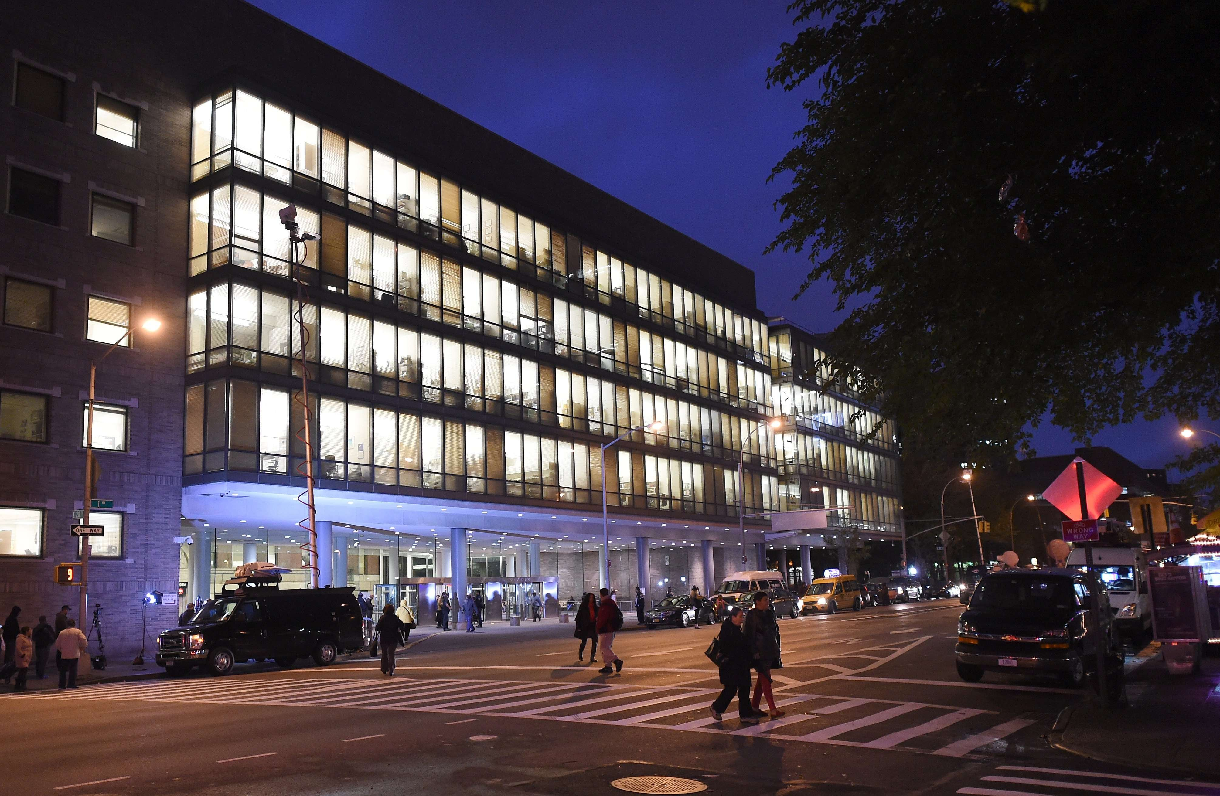 The entrance to  Bellevue  Hospital on Oct. 23, 2014 after a doctor who recently returned to New York from West Africa was rushed  with a fever t o be tested for possible Ebola, the city's health department said.