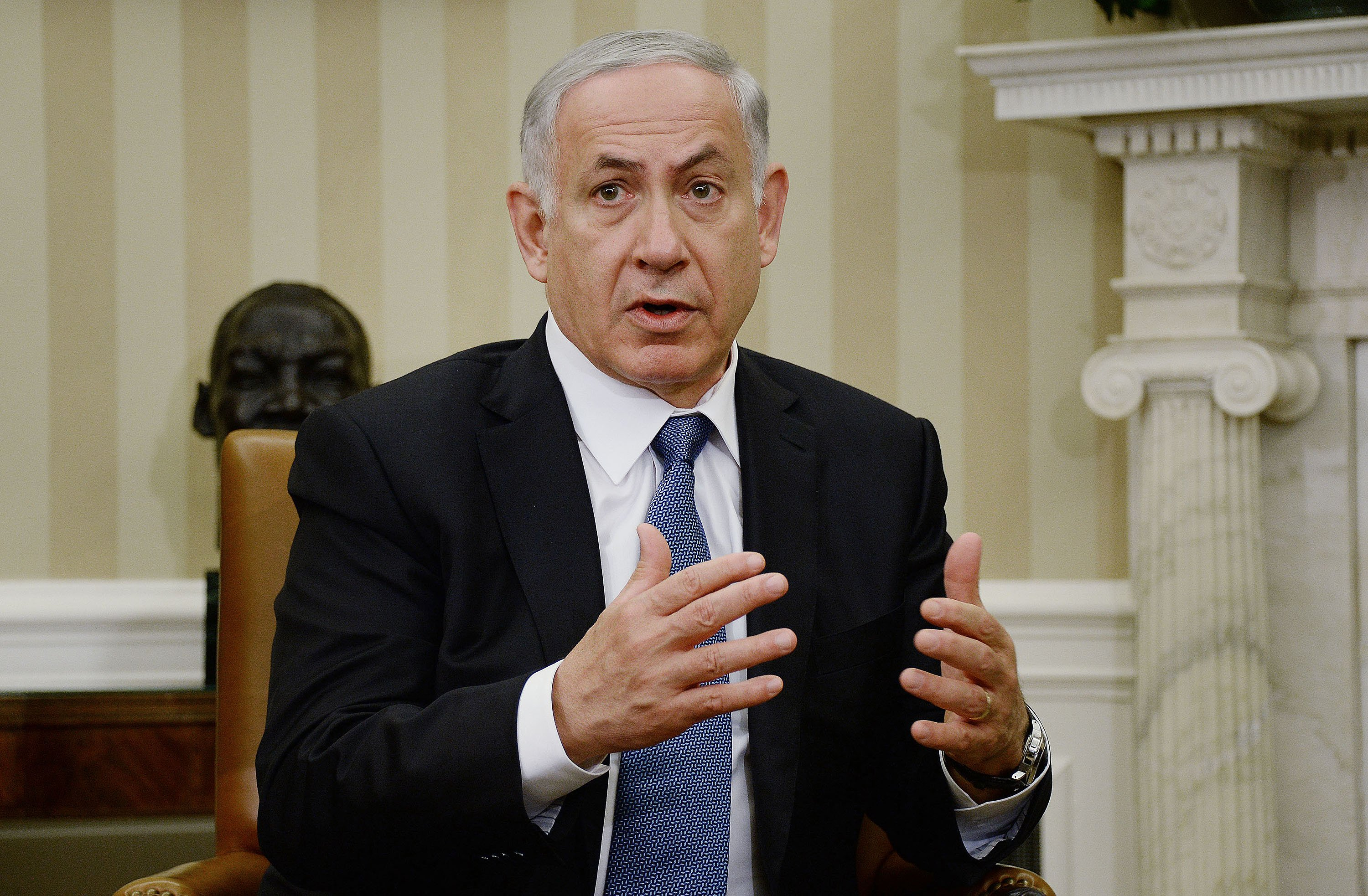 Prime Minister Benjamin Netanyahu of Israel in the Oval Office of the White House on Oct. 1, 2014 in Washington, DC.