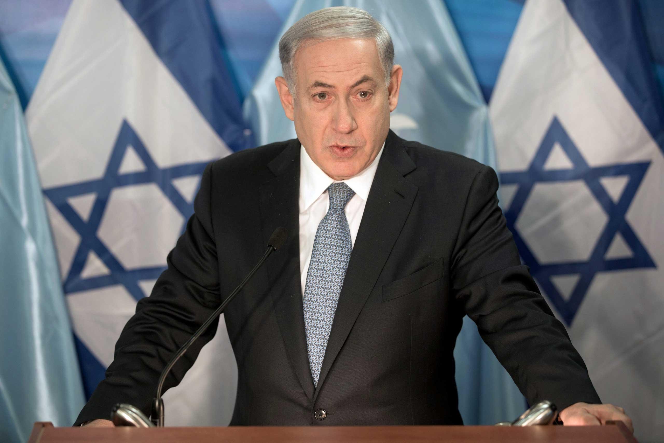 Israeli Prime Minister Benjamin Netanyahu speaks during a press conference in Jerusalem, Oct. 13, 2014.