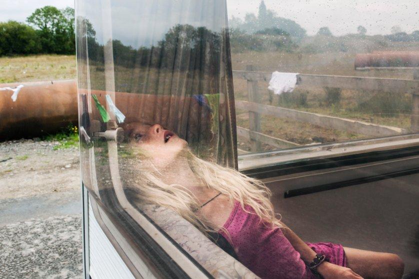 Pamela seen in the caravan. From the series, The Travellers.