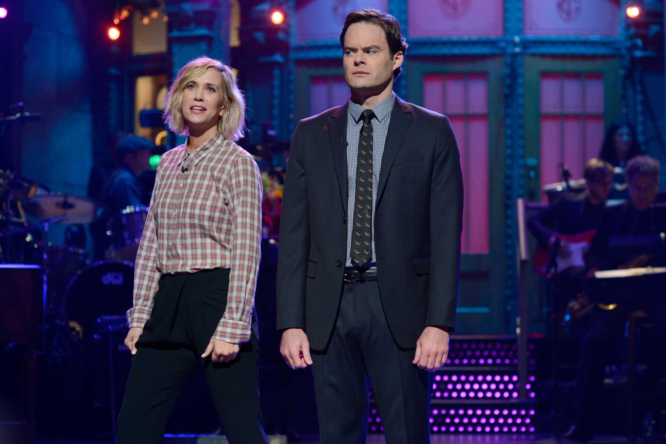 Kristen Wiig and Bill Hader on Saturday Night Live on Oct. 11, 2014.