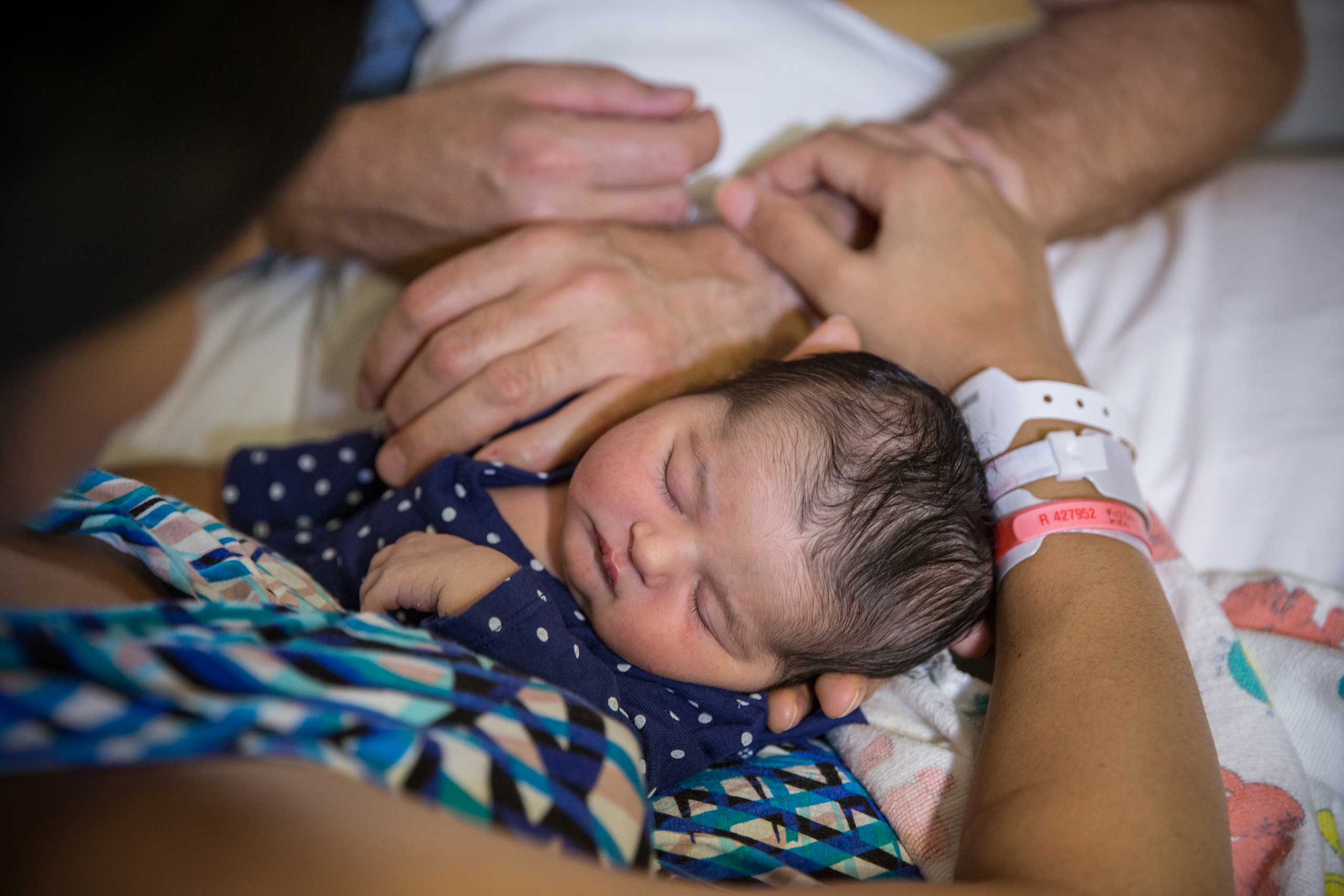 A three-day old baby girl at Shady Grove Adventist Hospital, in Rockville, Maryland, Sept. 5, 2014.