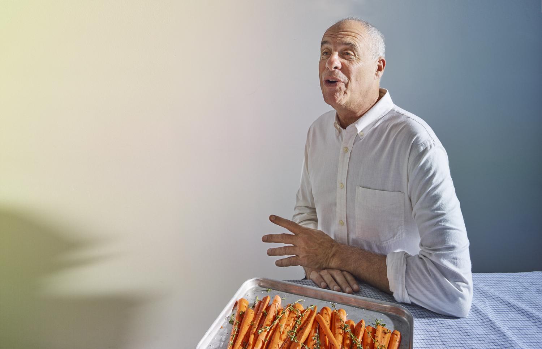 Mark Bittman with Carrots in Brooklyn, N.Y.