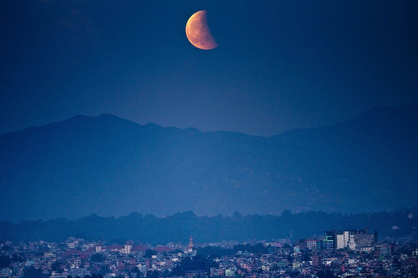 The moon during a total lunar eclipse from Kathmandu on Oct. 8, 2014.