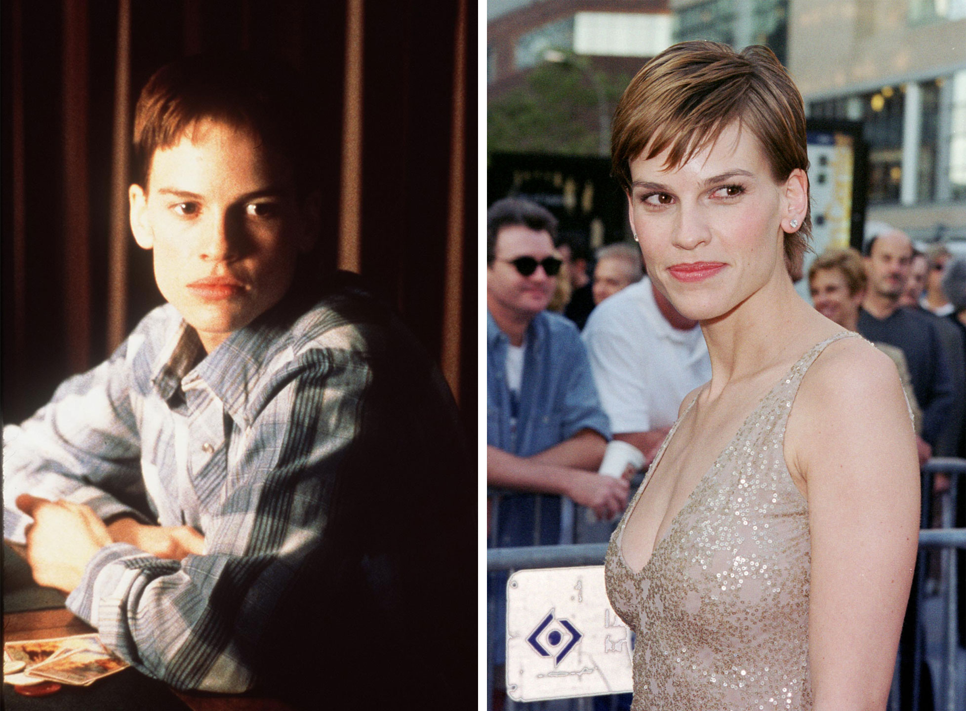 Hilary Swank as Brandon Teena in Boys Don't Cry