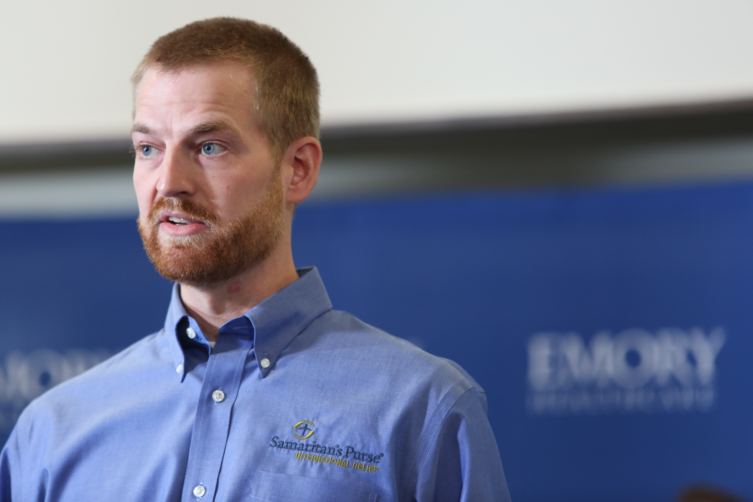 Dr. Kent Brantly speaks during a press conference announcing his release from Emory Hospital on August 21, 2014 in Atlanta, Georgia. Dr. Brantly and another patient, Nancy Writebol, were released from Emory Hospital after receiving treatment for Ebola that they both contracted while working as medical missionaries in Liberia.