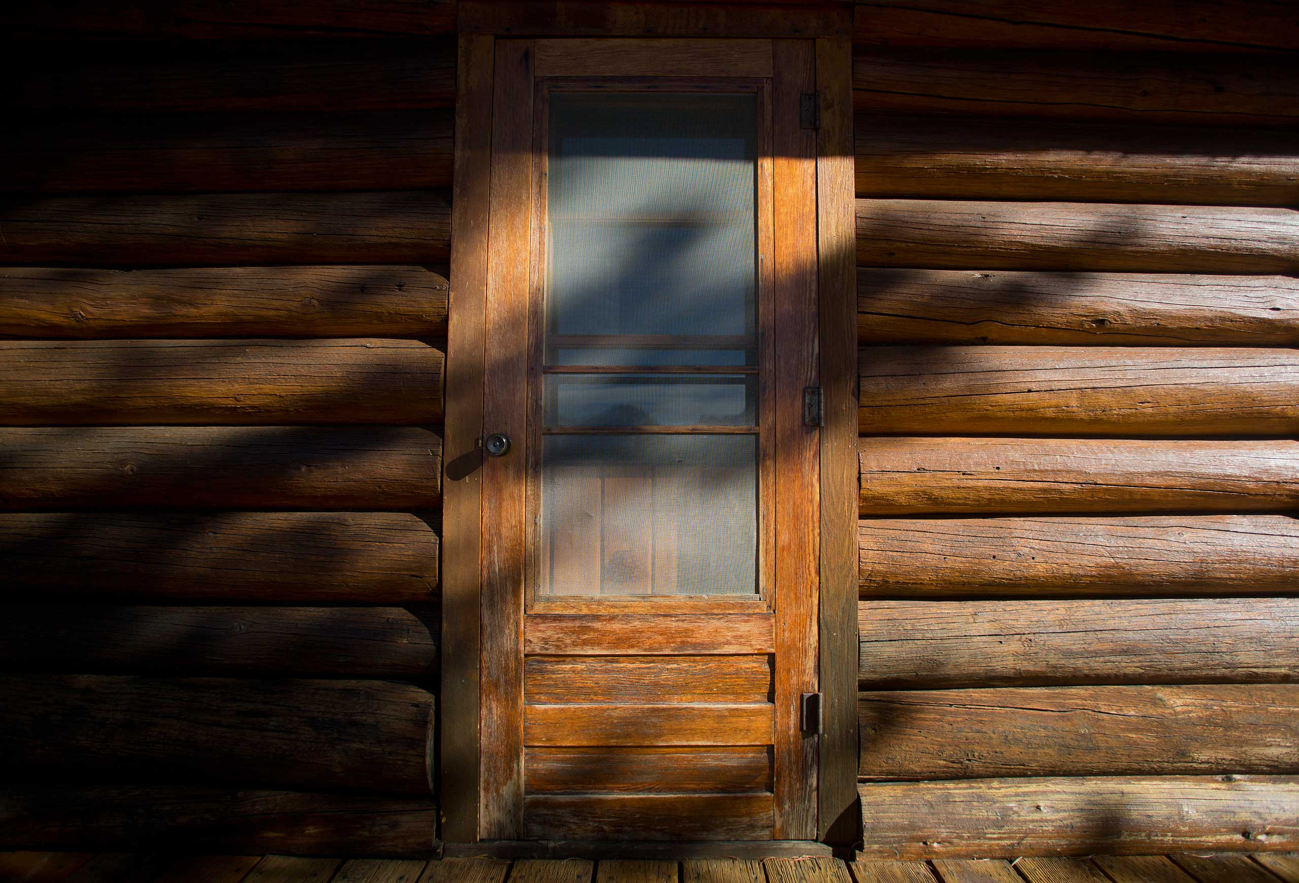 A doorway on the Brinkerhoff Cabin on the shore of Jackson Lake in Grand Teton National Park outside Jackson, Wyo. on Oct. 28, 2014.
