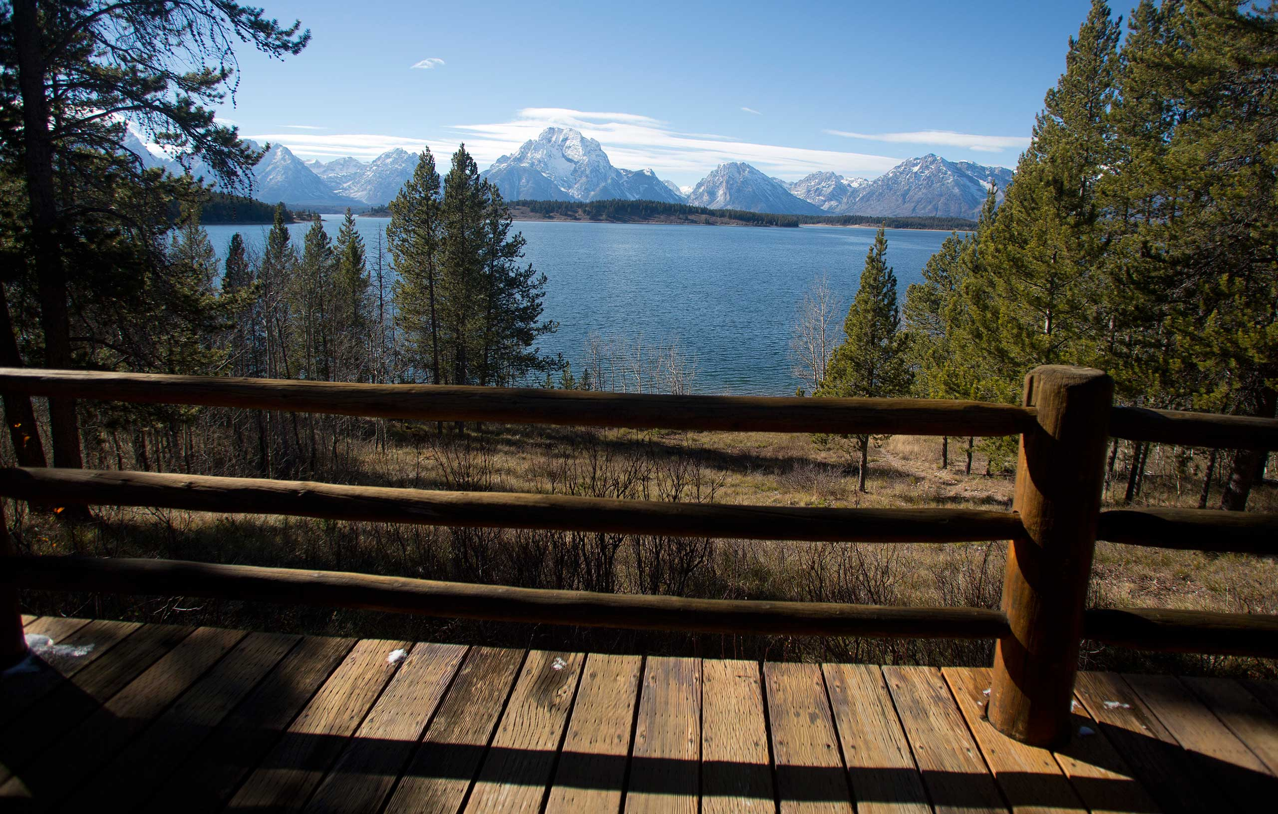 The view from the the Brinkerhoff Cabin on the shore of Jackson Lake in Grand Teton National Park outside Jackson, Wyo. on Oct. 28, 2014.