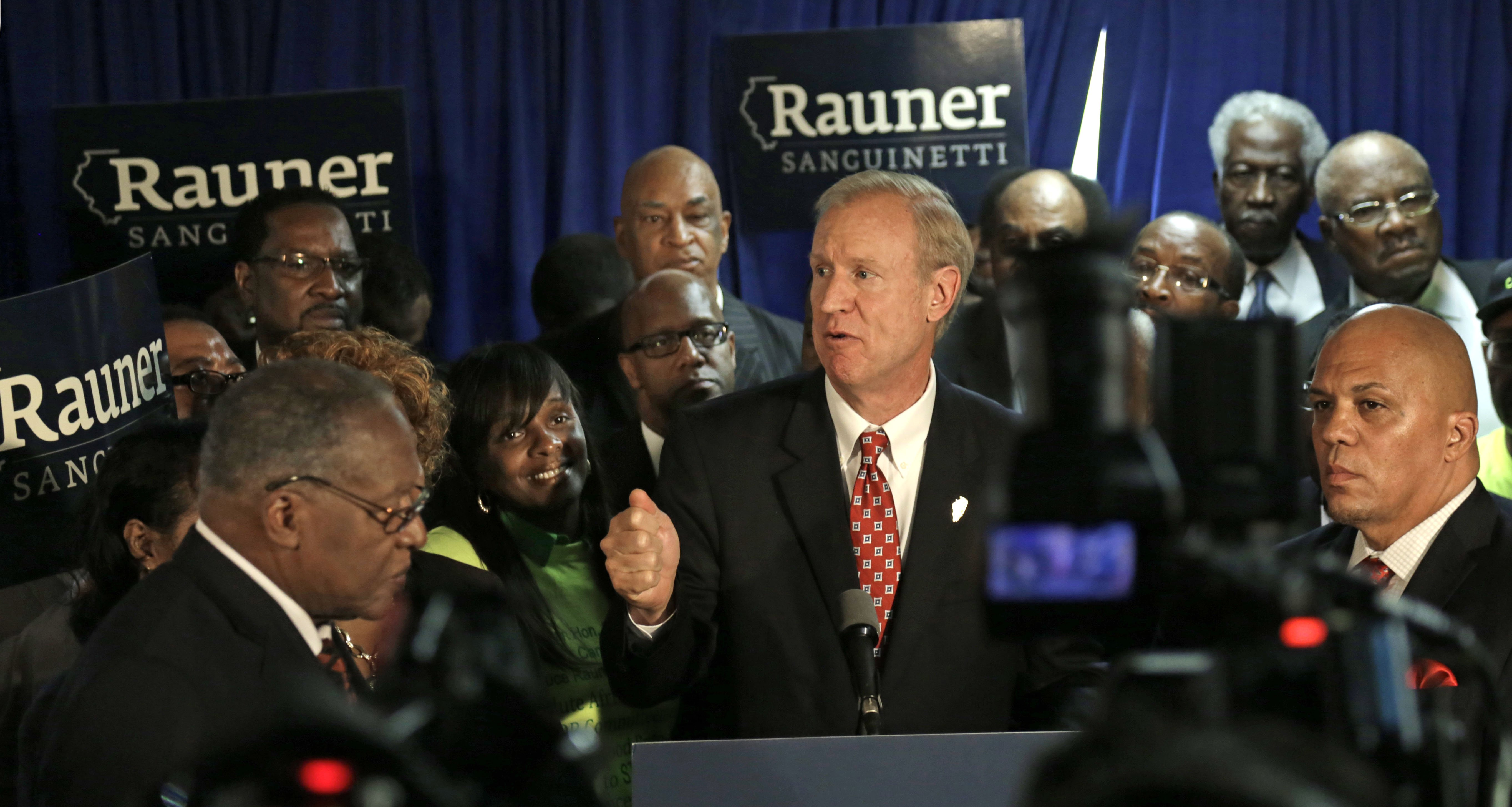 Illinois Republican gubernatorial candidate Bruce Rauner speaks at an event where he was endorsed by a group of African American ministers on Sept. 22, 2014, in Chicago.