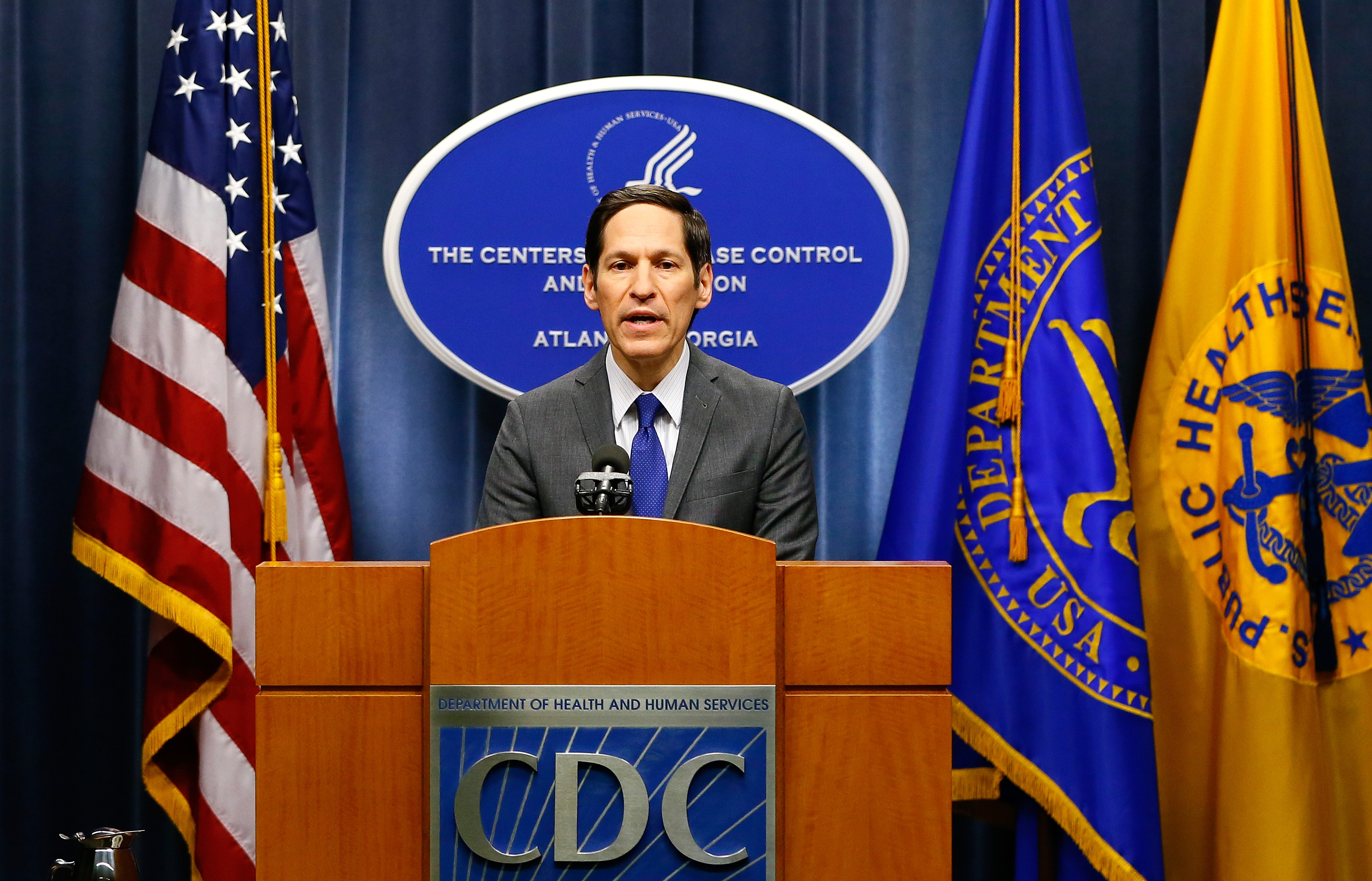 Director of Centers for Disease Control and Prevention Tom Frieden addresses the media on the Ebola case in the U.S. at the Tom Harkin Global Communications Center on Oct. 5, 2014 in Atlanta.