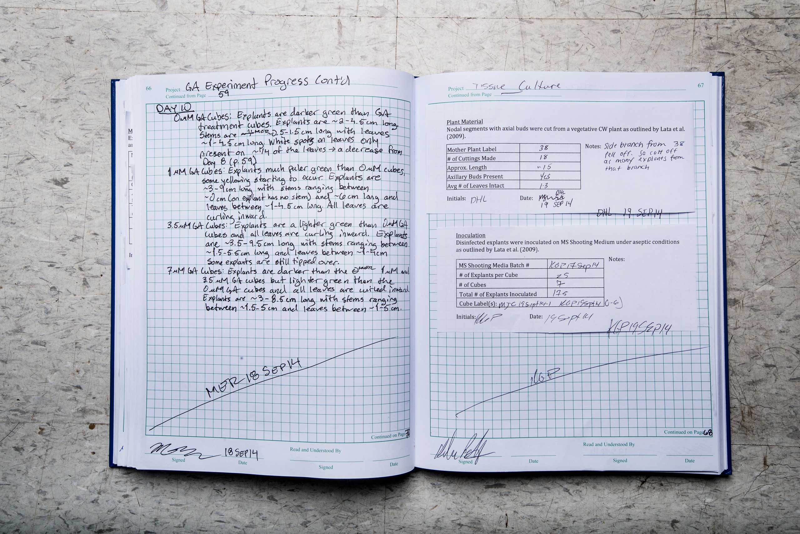 The lab notebook of molecular plant biologist and lab manager Bear Reel at the Stanley brothers' company laboratory in Boulder, Colo. on Sept. 23, 2014.