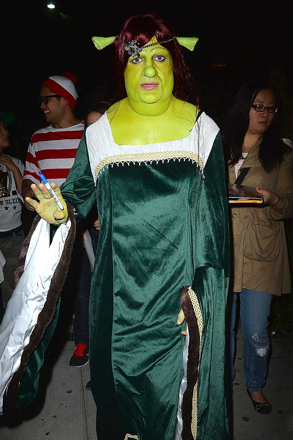 Colton Haynes dresses as Princess Fiona from Shrek For Halloween in Los Angeles, Ca. on Oct. 26, 2014.
