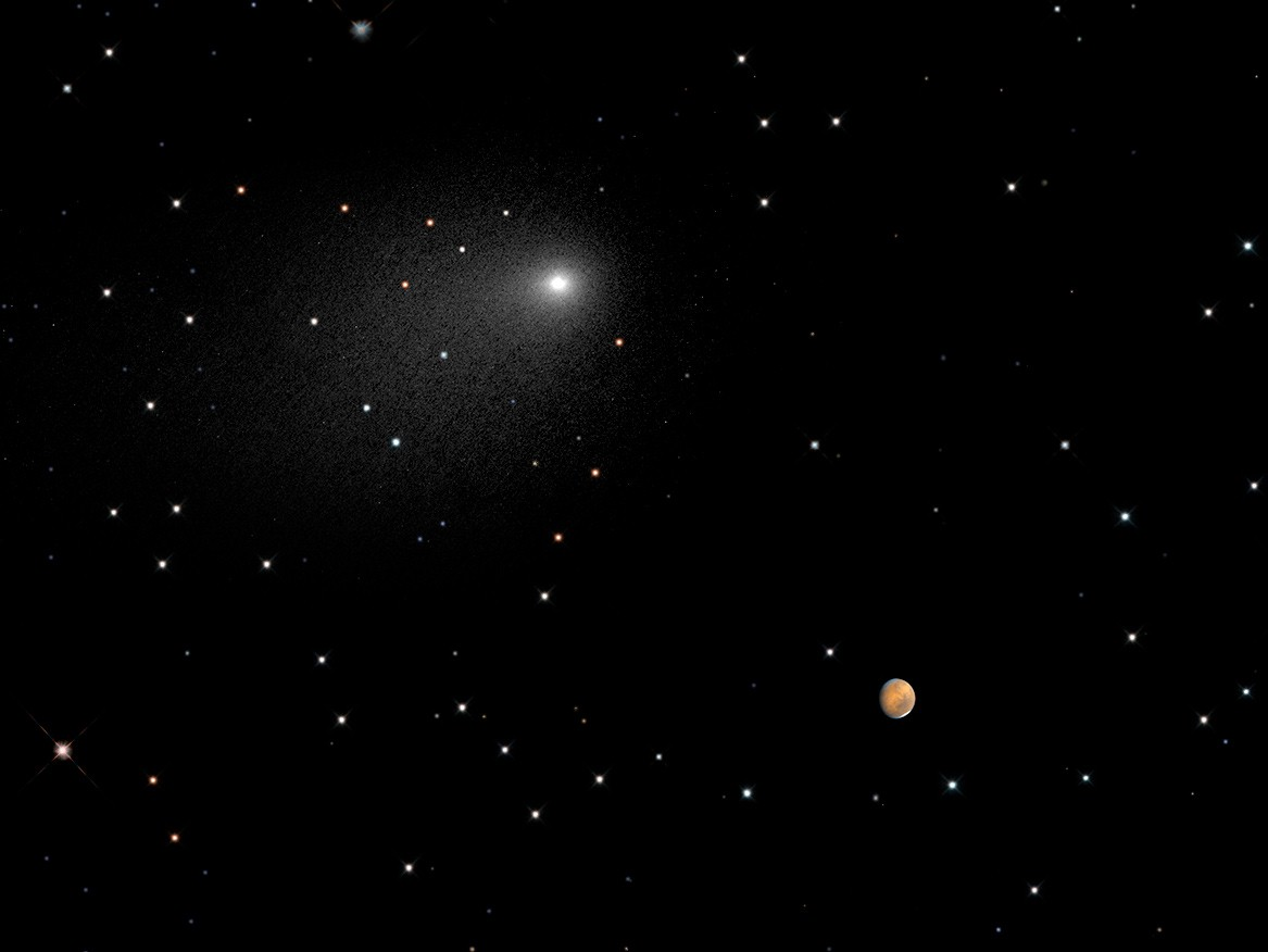 This composite image captures the positions of comet 'Siding Spring' and Mars in a never-before-seen close passage of a comet by the Red Planet, on Oct. 19, 2014.