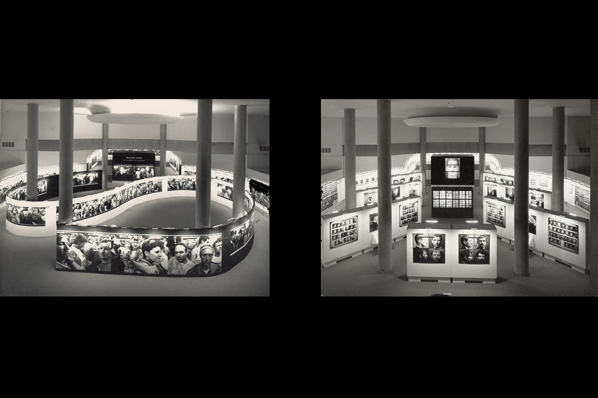 Left: View of the exhibition Identités: De Disdéri au Photomaton, 18 December 1985–24 February 1986, Paris.                                                              Right: View of the exhibition William Klein: Le commun des mortels, 18 December 1986–2 March 1987, Paris.